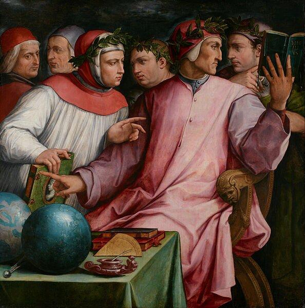 Sześciu poetów toskańskich Wśródpoetów przedstawionych przez malarzaznajdują się Dante iPetrarka (z lewej). Obaj mają na głowie wieńce laurowe. Przypomnijsymbolikę wieńca laurowego Źródło: Giorgio Vasari, Sześciu poetów toskańskich, 1544, domena publiczna.