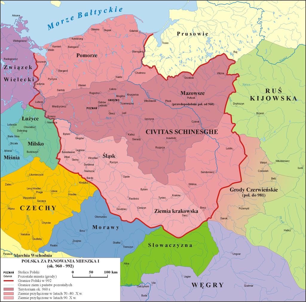 mapa -Polska za panowania Mieszka I
