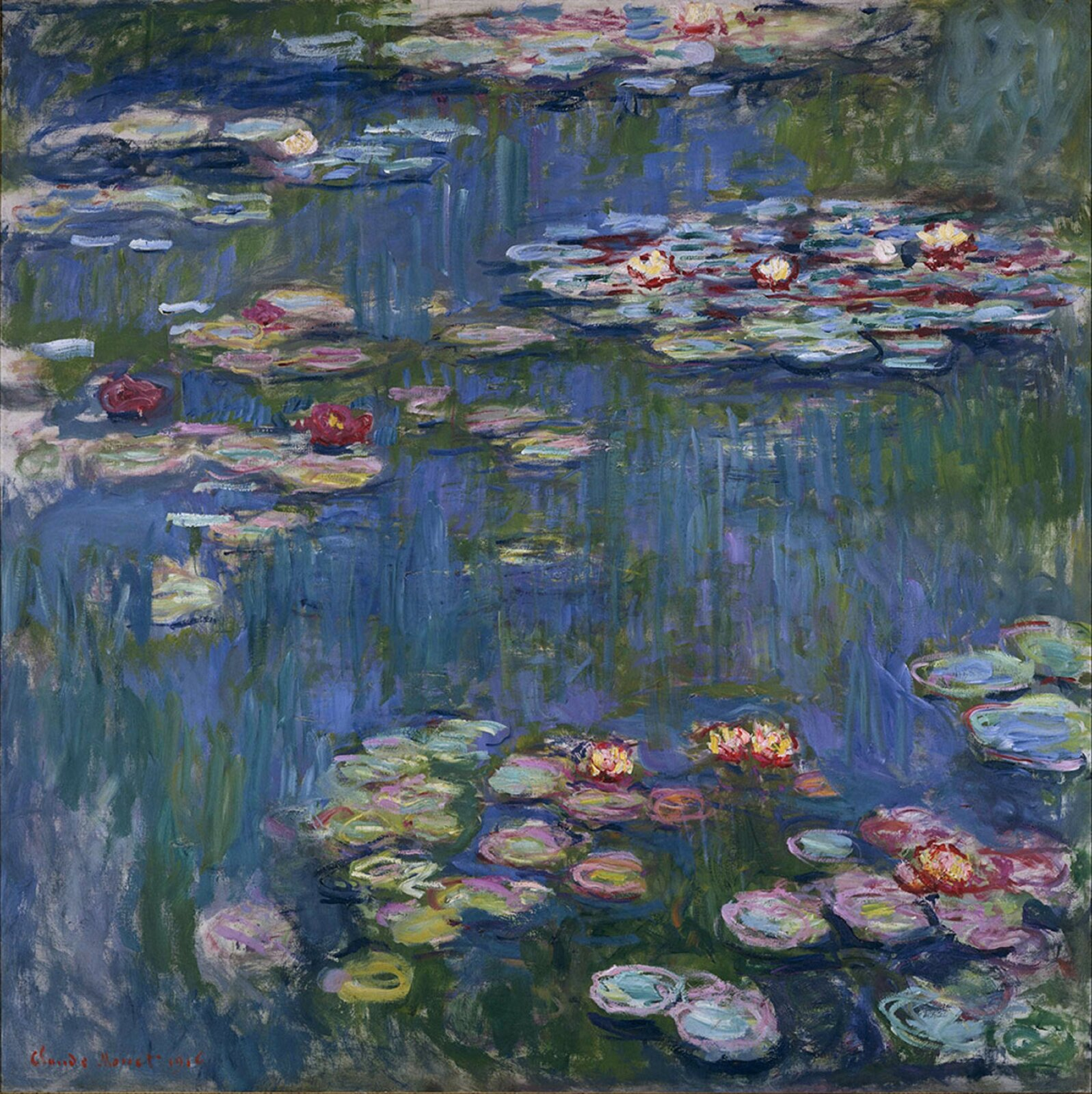 """Ilustracja przedstawia obraz Claude'a Moneta """"Lilie wodne"""". Dzieło ukazuje ogród kwiatowy Moneta wjego domu wGiverny. Na wodzie pływają lilie, znajdujące się na liściach. Przez taflę wody widoczne są zakorzenione wgłębi ogony roślin. Płótno namalowane jest zdecydowanymi pociągnięciami pędzla, przy pomocy drobnych smug czystego koloru."""