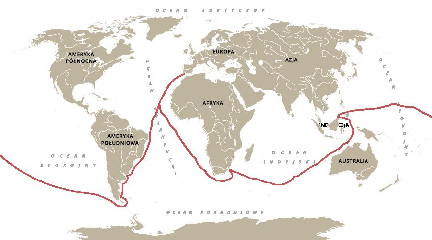 Mapa ztrasami wypraw Magellana Źródło: Contentplus.pl sp. zo.o., licencja: CC BY 3.0.