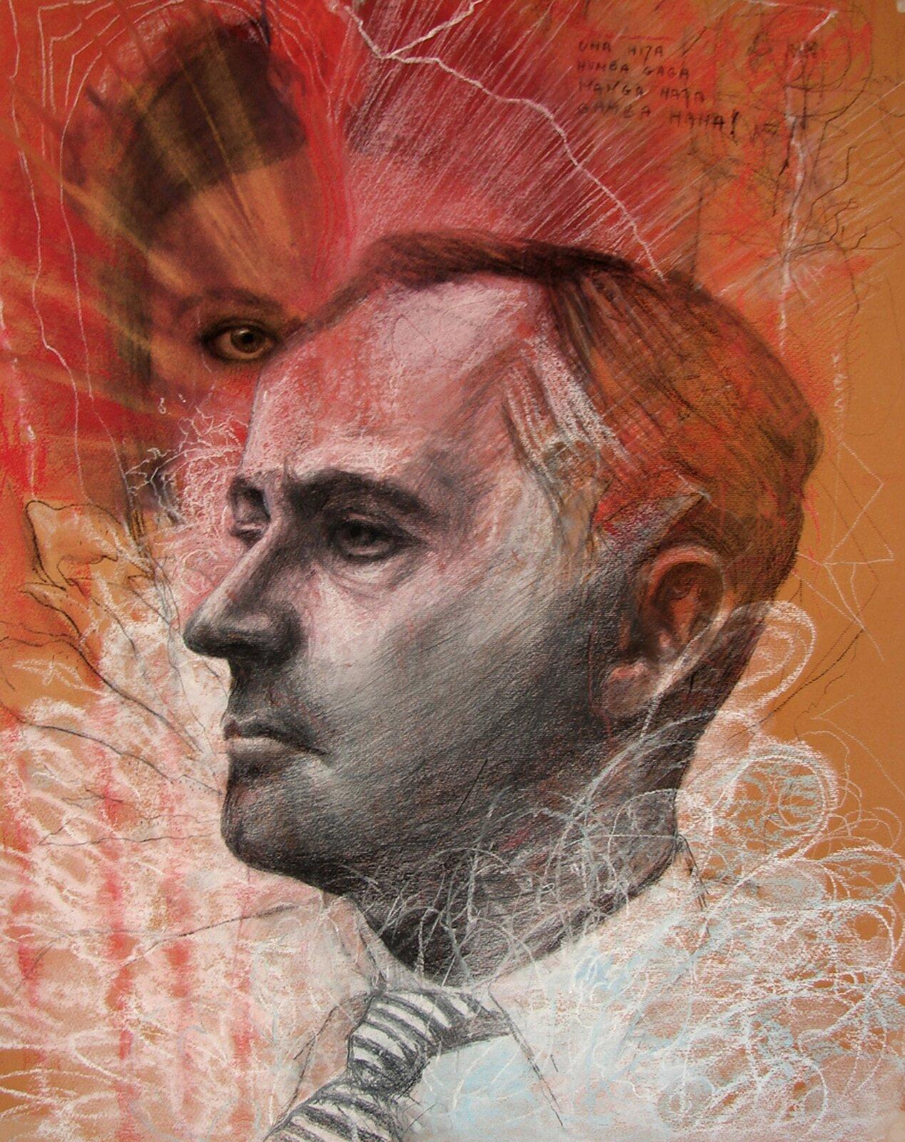 """Ilustracja przedstawia obraz """"Nienasycenie"""" autorstwa Ewy Bińczyk. Praca ukazuje portret Stanisława Ignacego Witkiewicza na ciepłym, pomarańczowym tle. Narysowana ołówkiem postać artysty uchwycona jest zprofilu. Pod szyją ma zawiązany krawat wdrobne, poziome pasy. Twarz, fragment włosów oraz koszula podrysowane są białą kredką. Za postacią Witkacego znajduje się fragment głowy kobiety zwidocznym prawym okiem oraz ciemnymi, gładkimi włosami. Górna część obrazu pełna jest czerwonych przetarć, które bijąc zportretu artysty przysłaniają kobietę. Dolna partia pracy wypełniona jest układającym się wpętle, biało-błękitnym rysunkiem miękko okalającym głowę postaci. Łączący wsobie techniki pasteli iołówka obraz utrzymany jest wciepłej, żółto-czerwone gamie barwnej."""