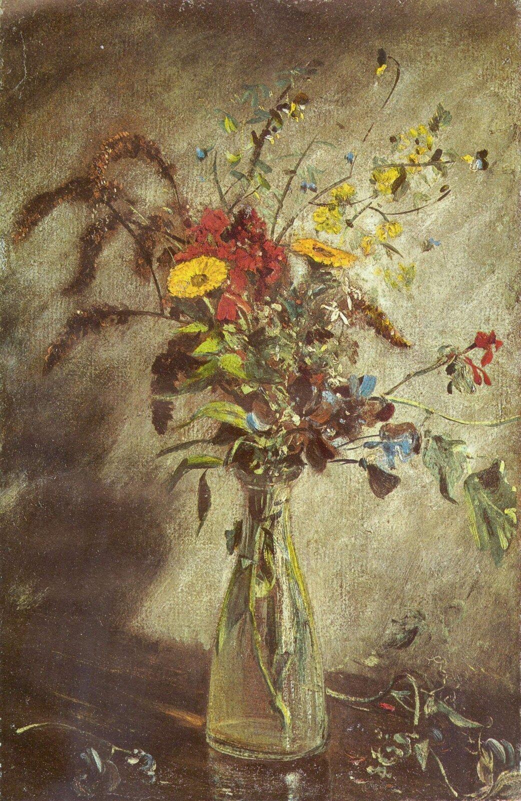 """Ilustracja przedstawia obraz """"Kwiaty wszklanej wazie"""" autorstwa Johna Constable. Wcentrum kompozycji ukazany jest bukiet wszklanym flakonie. Dynamicznie ułożone, polne kwiaty wystające znad wąskiej szyjki wazonu namalowane są widocznymi, lekkimi pociągnięciami pędzla. Flakon zbukietem stoi na brązowym blacie stołu na którym leżą drobne fragmenty kwiatów. Tło stanowi szaro-brązowa ściana zciemną plamą cienia po lewej stronie. Całość obrazu namalowana jest luźno, bez zbędnej dbałości oszczegół, mimo to artyście udało się wiernie oddać różny rodzaj materii przedmiotów: przezroczystość szkła wazonu, gładkość blatu stołu, delikatność kwiatów czy chropowatość ściany. Kolorystyka utrzymana jest wtonacji szaro-brązowej zakcentami żółci, czerwieni, błękitu izieleni. Dzieło wykonane jest wtechnice olejnej."""
