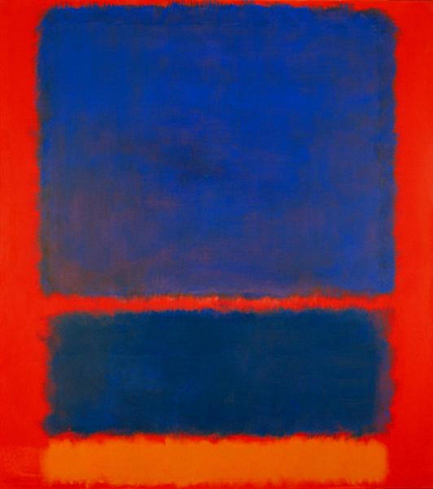 """Ilustracja przedstawia obraz Marka Rothko pt. """"Niebieski, pomarańczowy, czerwony"""". Obraz pochodzi z1961 roku. Dzieło przedstawia trzy prostokąty na czerwonym tle. Dwie figury są wkolorze niebieskim oraz jedna wkolorze pomarańczowym. Autorem dzieła był amerykański malarz, przedstawiciel color field painting."""