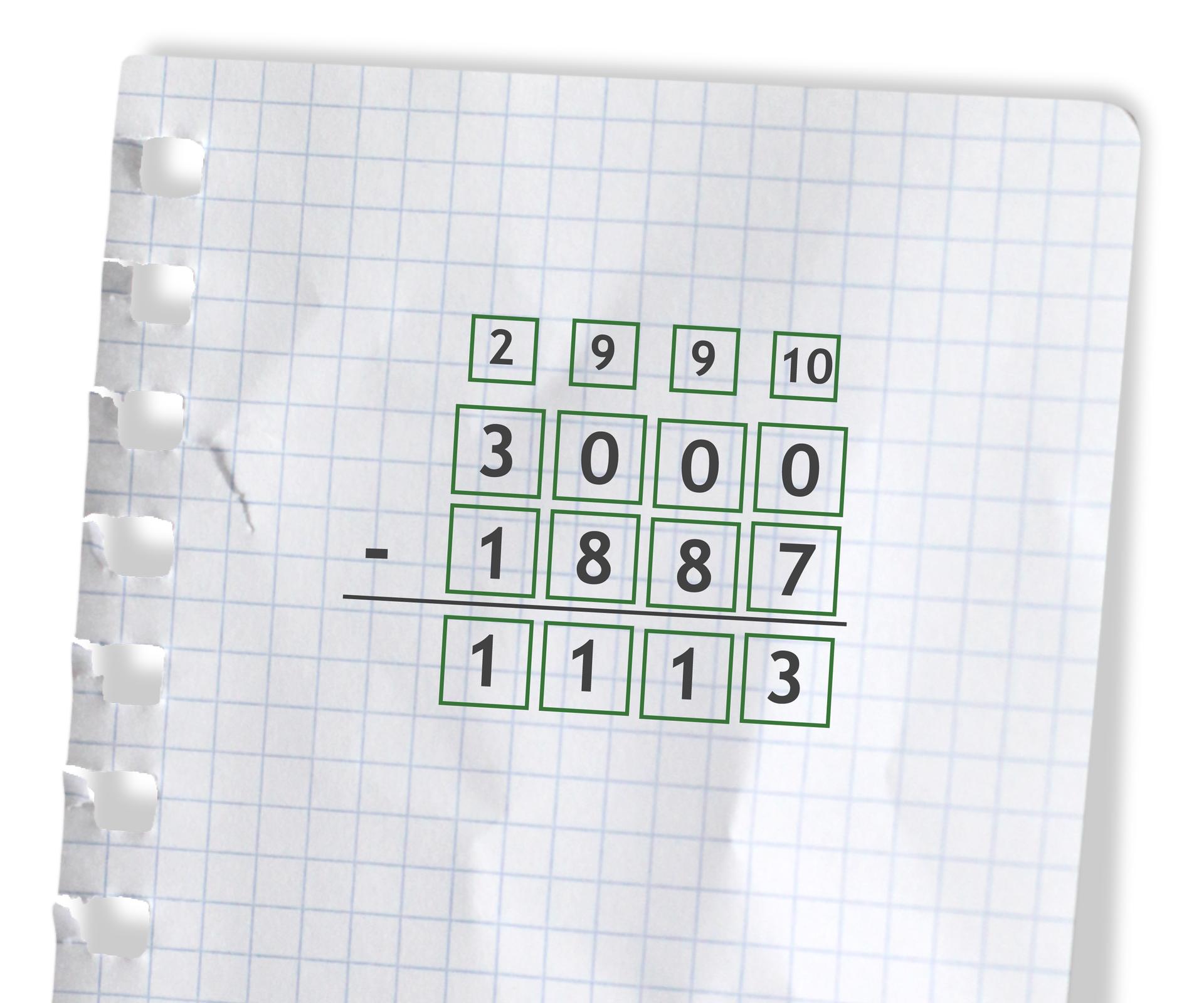 Przykład: 3000 - 1887 =1113. Rozwiązanie zadania podpunkt f.