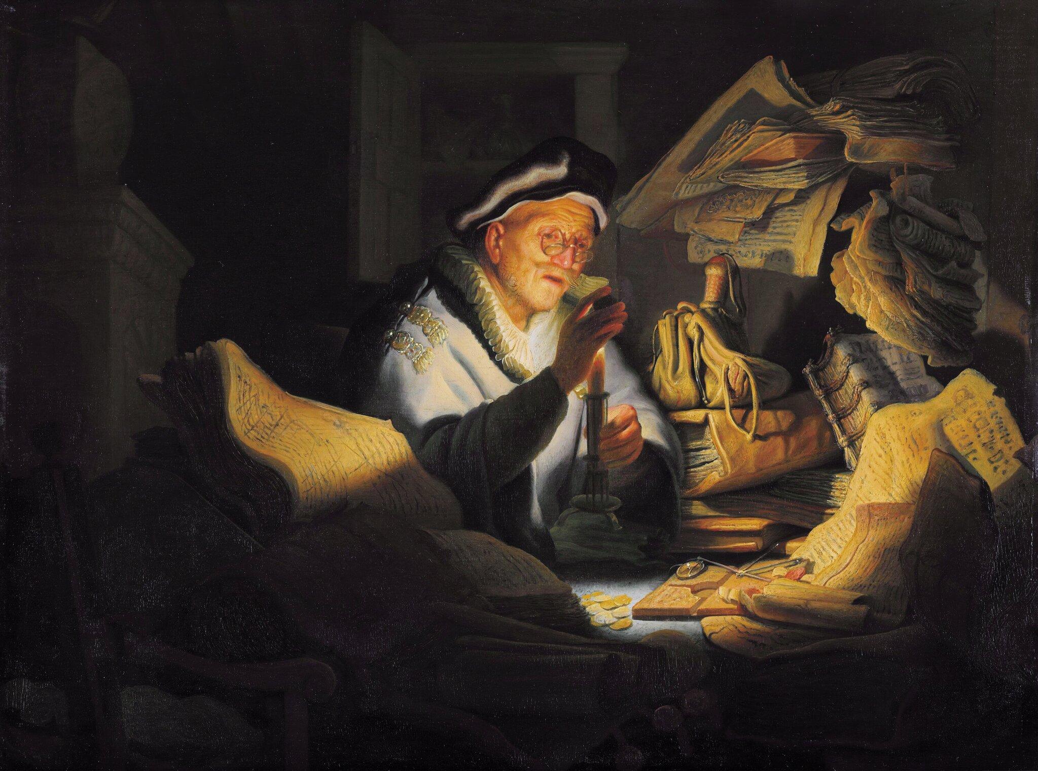 Przypowieść obogaczu Źródło: Rembrandt van Rijn, Przypowieść obogaczu, 1627, Gemäldegalerie, Berlin, domena publiczna.