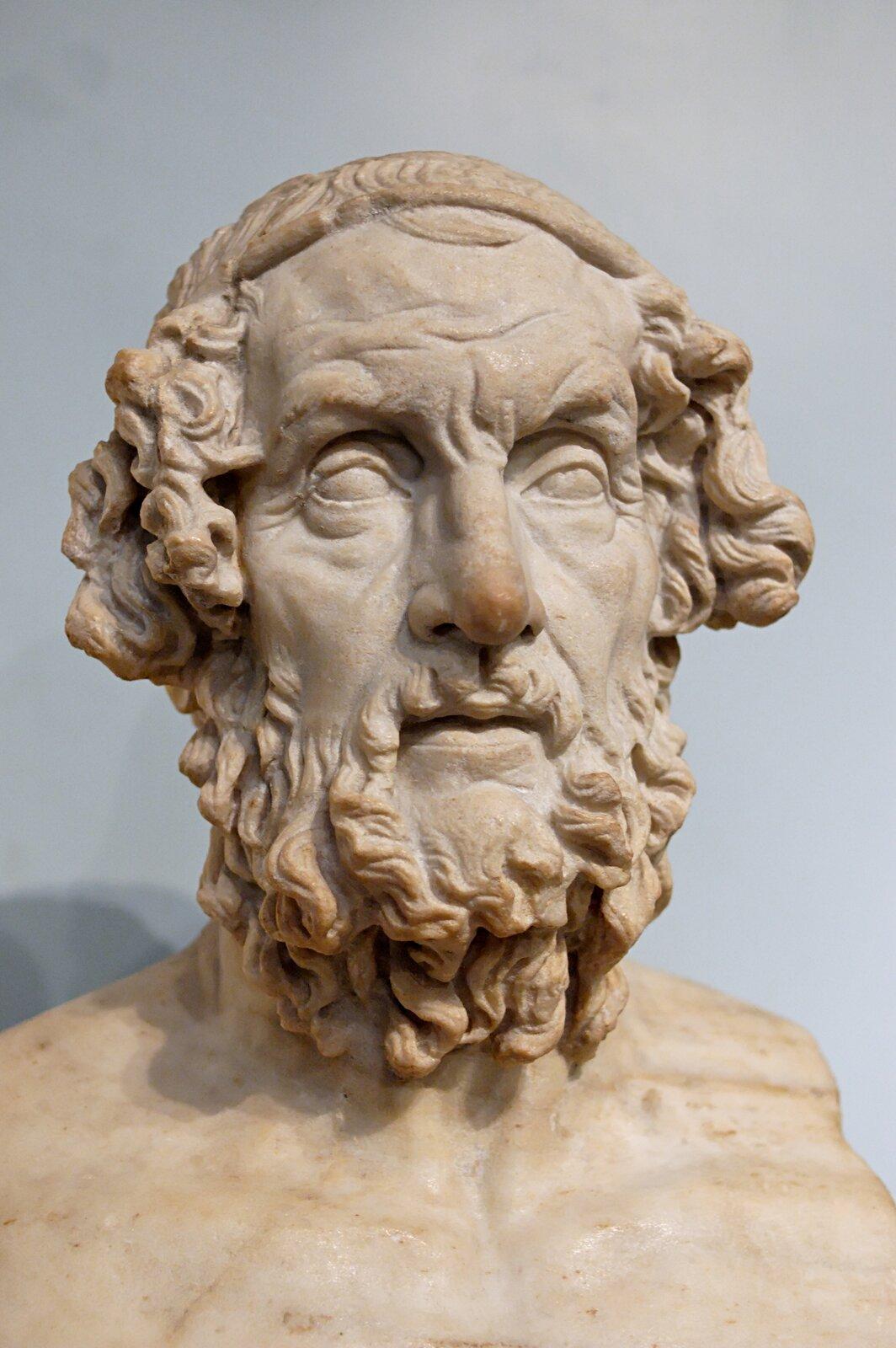 Ilustracja przedstawia popiersie Homera wyrzeźbione wjasnym marmurze. Jest to niemłody już mężczyzna, owyraźnych zmarszczkach na czole iwokół oczu. Przedstawiony jest zbujnym zarostem. Po obu stronach głowy ma kręcone dość długie włosy, gładko przyczesane na czubku głowy.