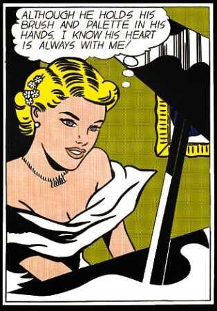 Roy Lichtenstein, Dziewczyna przy pianinie Źródło: wikiart, Roy Lichtenstein, Dziewczyna przy pianinie, druk sitowy, licencja: CC 0.