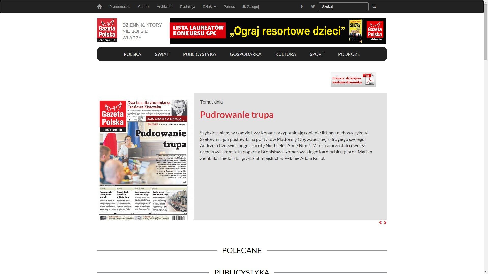 Zrzut ekranu ze strony gpcodziennie.pl