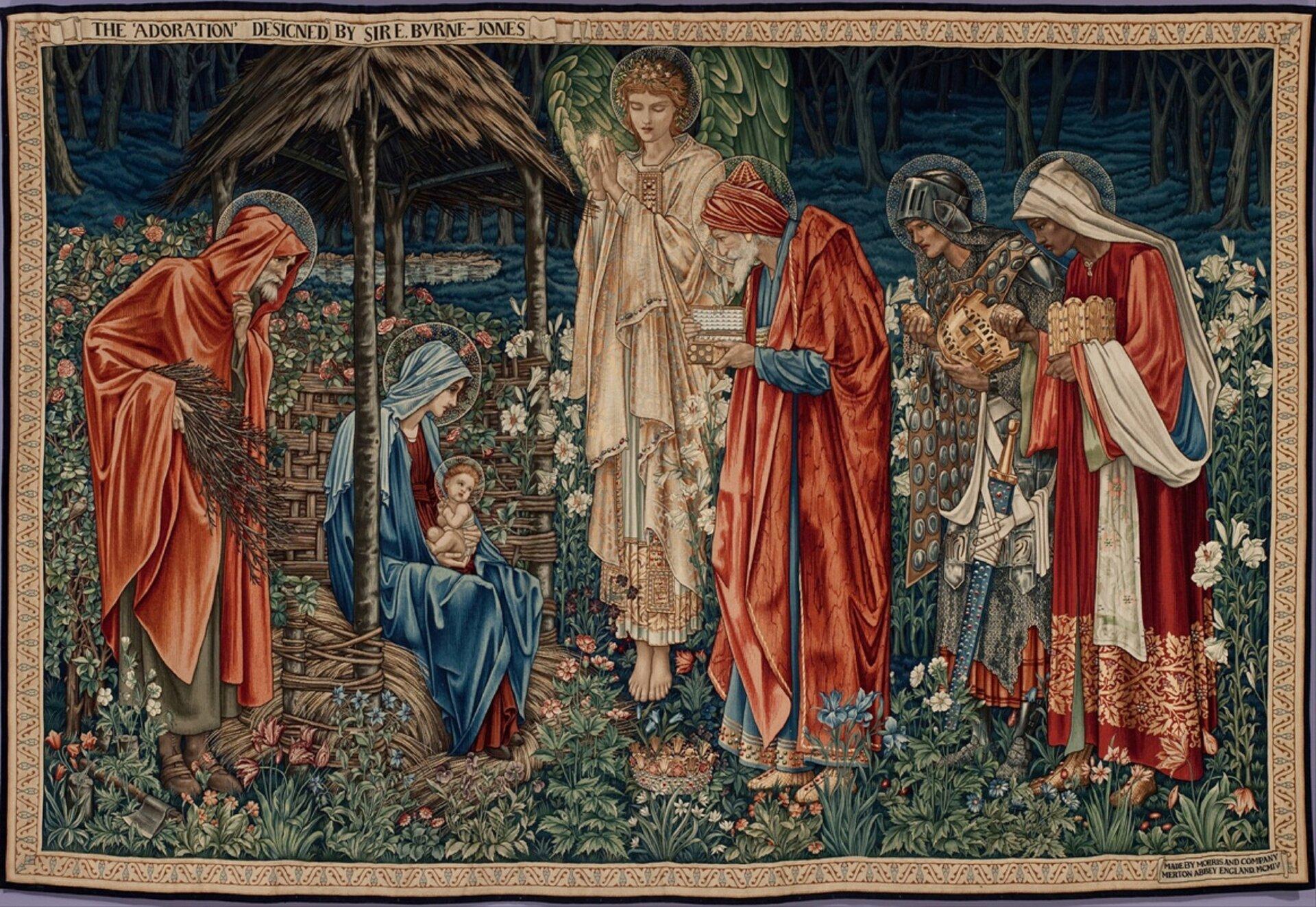 """Ilustracja przedstawia dzieło Edwarda Burne'a-Jones'a """"Gwiazda zBetlejem"""". Ukazuje scenę zMaryją trzymającą Jezusa na kolanach iświętym Józefem, stojącym po lewej stronie obrazu. Po prawej stoją trzej królowie wodświętnych szatach, trzymając wdłoniach dary. Pomiędzy grupami, nad ziemią, unosi się anioł zzielono-żółtymi skrzydłami, ubrany wbiałą szatę. Wokół całej sceny rosną kwiaty. Za aniołem ikrólami przestrzeń wypełniają długie, białe lilie. Wtle znajduje się ciemny las."""