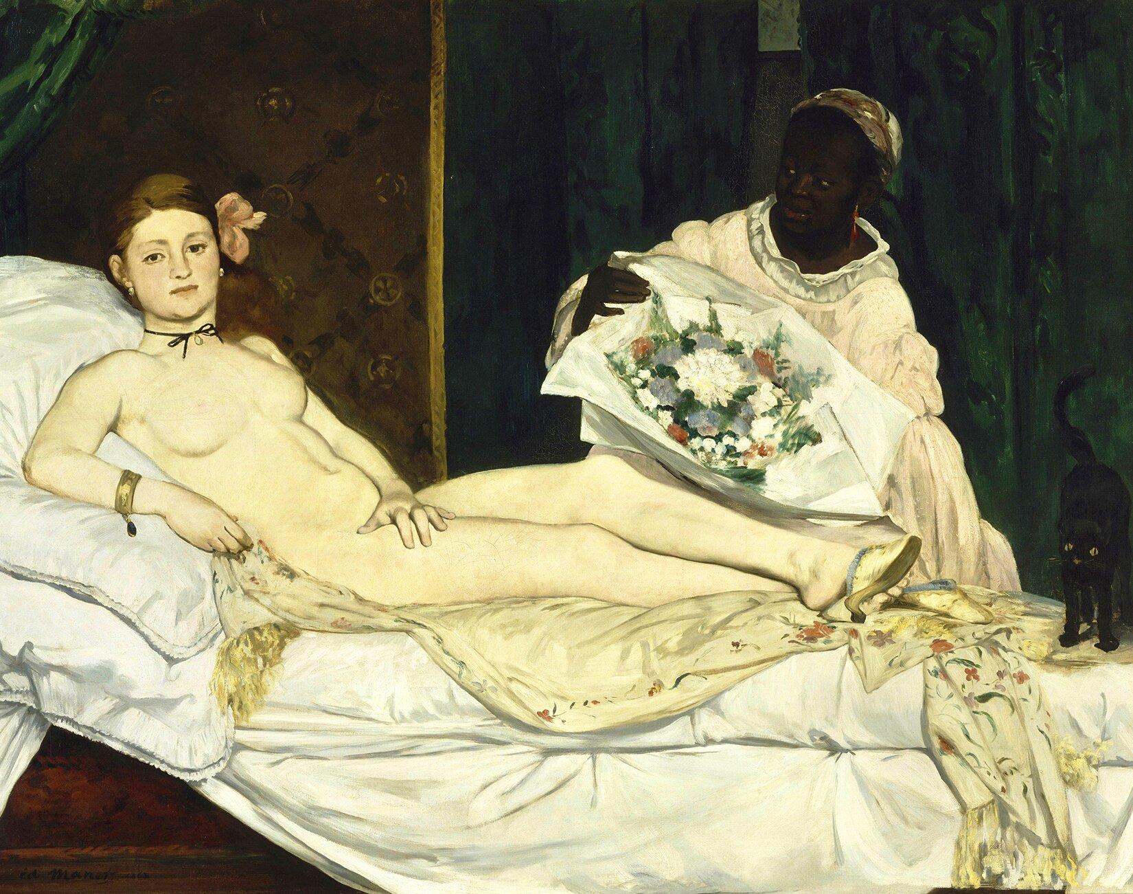 Olimpia Źródło: Édouard Manet, Olimpia, 1863, olej na płótnie, Musée d'Orsay, Paryż, domena publiczna.