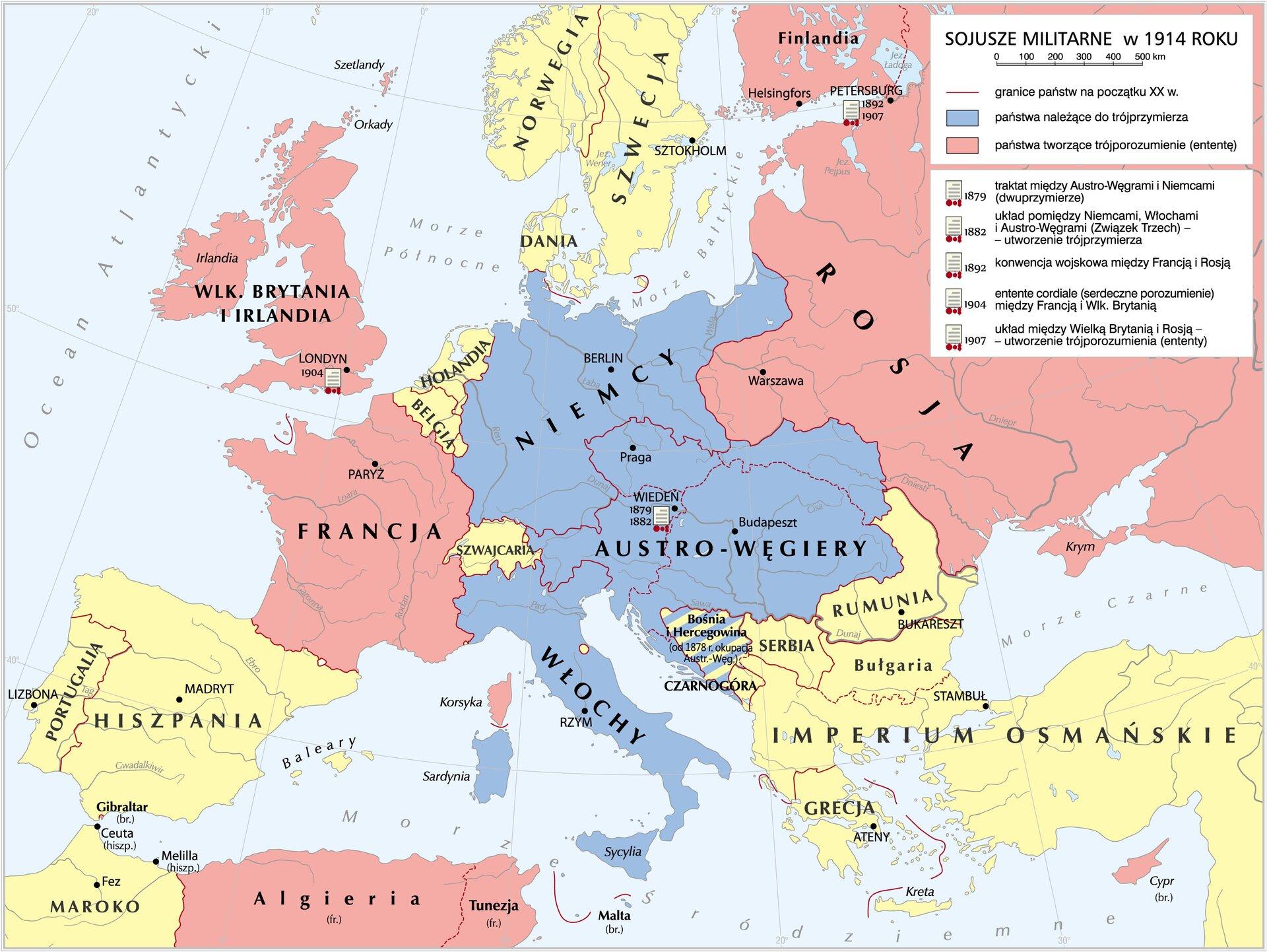 Sojusze militarne w1914 roku Źródło: Krystian Chariza izespół, Sojusze militarne w1914 roku, Krystian Chariza izespół.