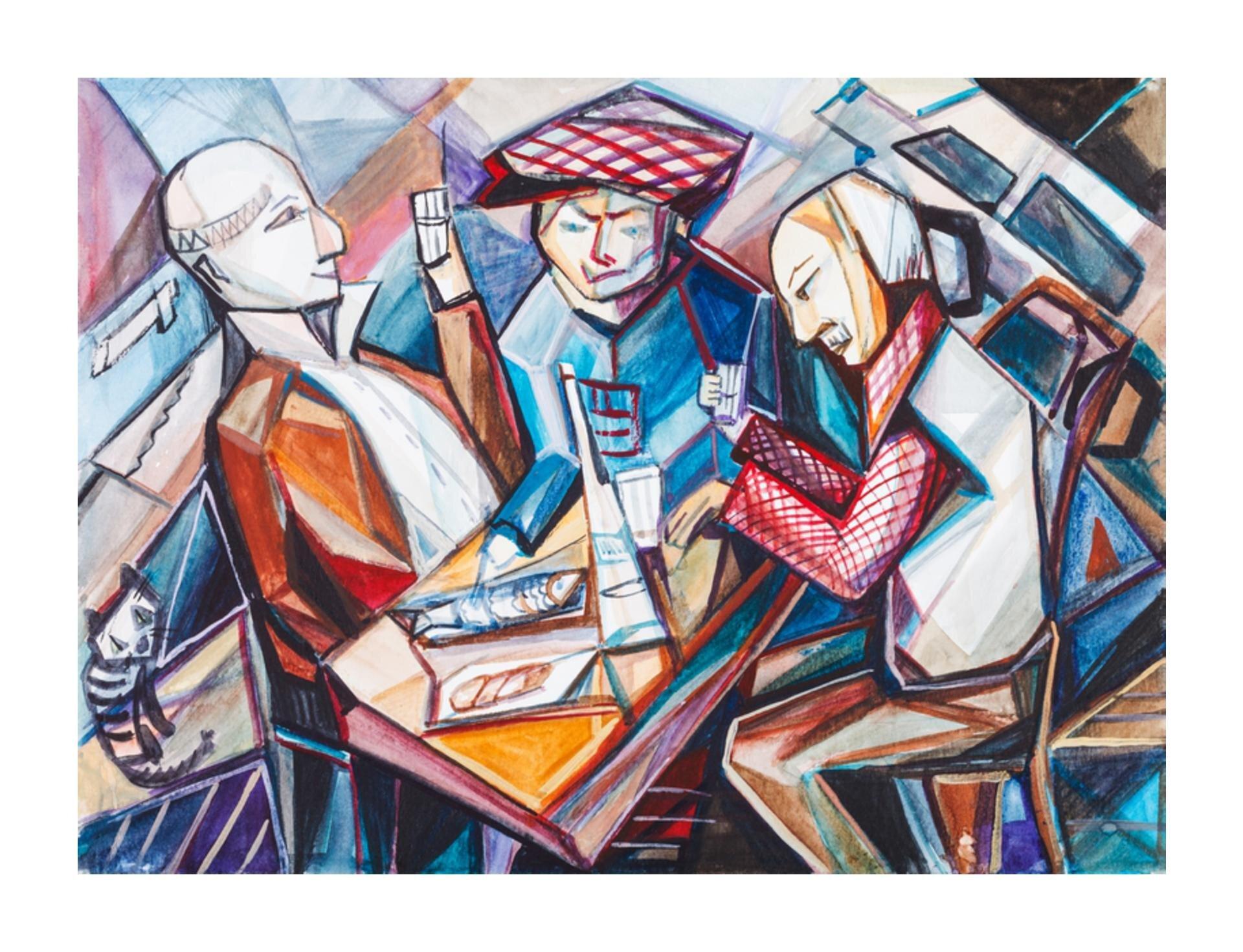 Wzadaniu zostało wykorzystane dzieło, które przedstawia trzech mężczyzn siedzących przy stole. Dwóch mężczyzn ma uniesione szklanki zbiałym napojem. Na stole leży ryba. Za mężczyznami po lewej stronie siedzi szary kot.