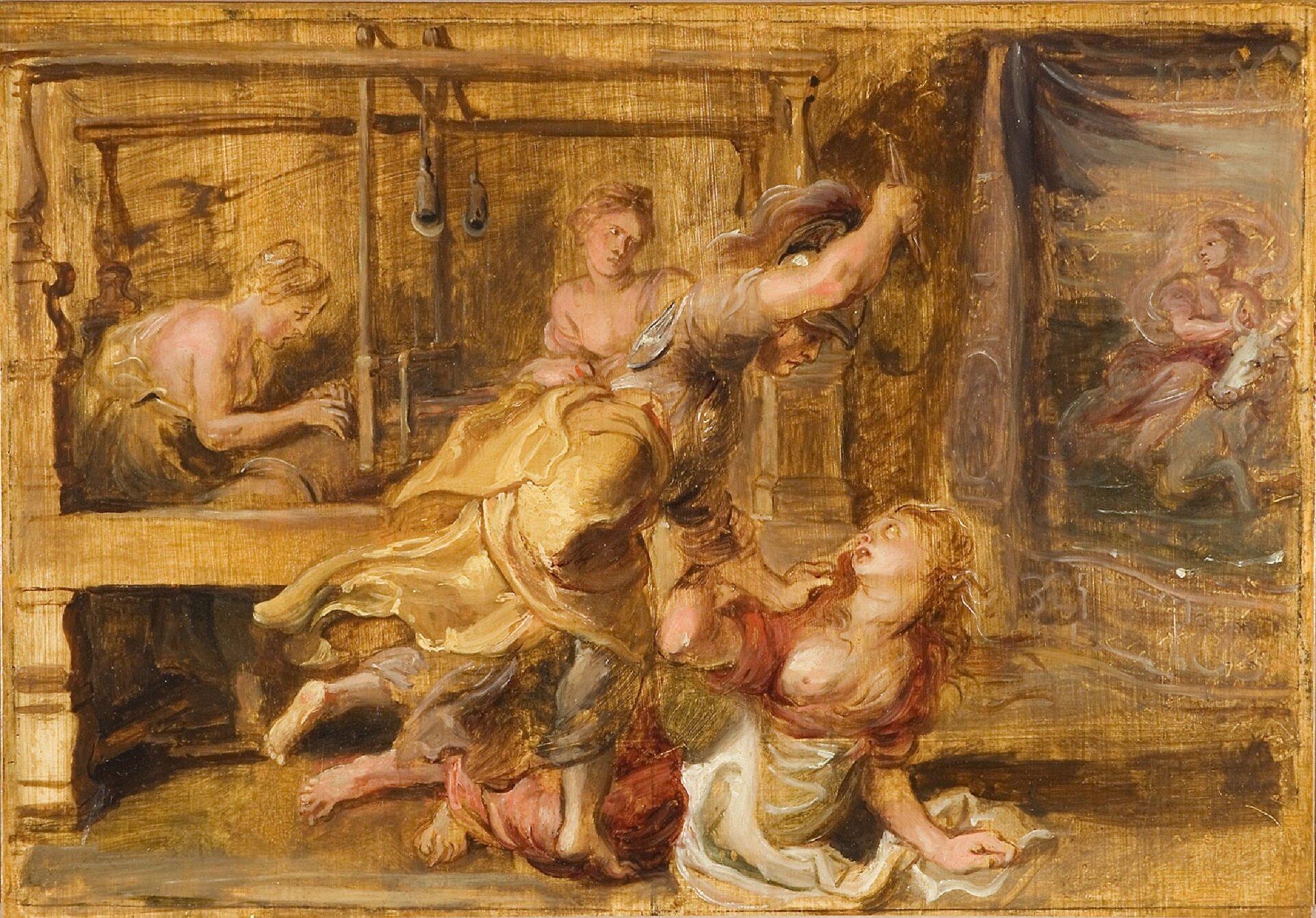 """Obraz Petera Paula Rubensa """"Arachne"""" przedstawia scenę pobicia kobiety przez żołnierza. Na pierwszym planie widoczny jest mężczyzna ubrany wzbroję. Wjednej dłoni trzyma przedmiot ipróbuje zadać Arachne cios. Trzymana przez wojownika kobieta spogląda na niego zprzerażeniem. Wtle widoczne są postacie, które nie są zainteresowane tym co się obok nich dzieje. Na ich twarzy widoczna jest obojętność. Wprawej części obrazu znajduje się ciemnoskóra kobieta siedząca na szarym koniu."""