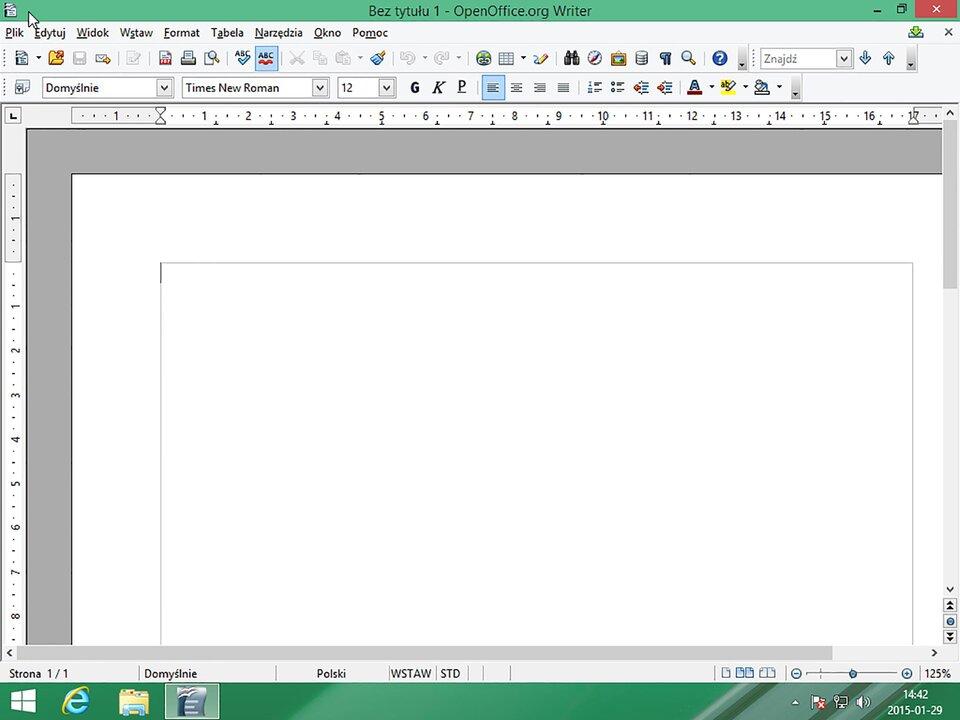 Interaktywne okno programu systemu Windows 8