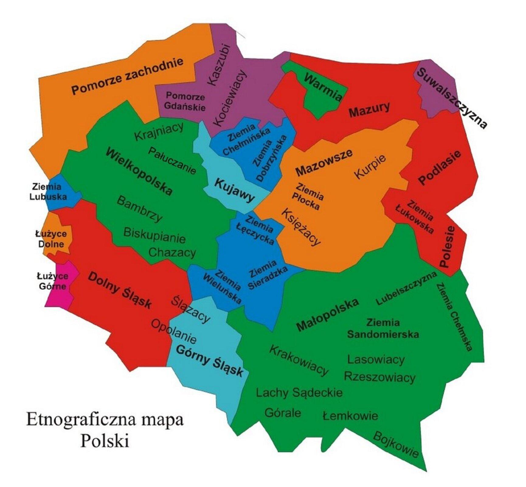 Na ilustracji etnograficzna mapa Polski. Poszczególne regiony oznaczone są kolorami. Na północy nad Morzem Bałtyckim, począwszy od wschodu zaznaczone są: Pomorze zachodnie, Pomorze Gdańskie (grupy etniczne Kaszubi iKociewiacy), Mazury iWarmia. Na wschodzie począwszy od północy zaznaczone są: Suwalszczyzna, Podlasie ibardzo duży region Małopolska, obejmujący całą południowo-wschodnią Polskę. Małopolska podzielona jest na mniejsze regiony: Lubelszczyznę, Ziemię Chełmską, Ziemię Sandomierską, wymienione są też grupy etniczne: Krakowiacy, Lasowiacy, Górale, Łemkowie, Bojkowie. Na południu począwszy od wschodu: Łużyce Górne, Dolny Śląsk, Górny Śląsk iwspomniana już Małopolska. Na zachodzie małe regiony: Ziemia Lubuska, Łużyce Dolne iwspomniane już Łużyce Górne. Wśrodkowym pasie znajdują się następujące regiony: Wielkopolska, Kujawy, Ziemia Chełmińska, Ziemia Dobrzyńska, Ziemia Łęczycka, Ziemia Wieluńska iZiemia Sieradzka oraz Mazowsze. Na Mazowszu osobno zaznaczono: Ziemię Płocką iKurpie.