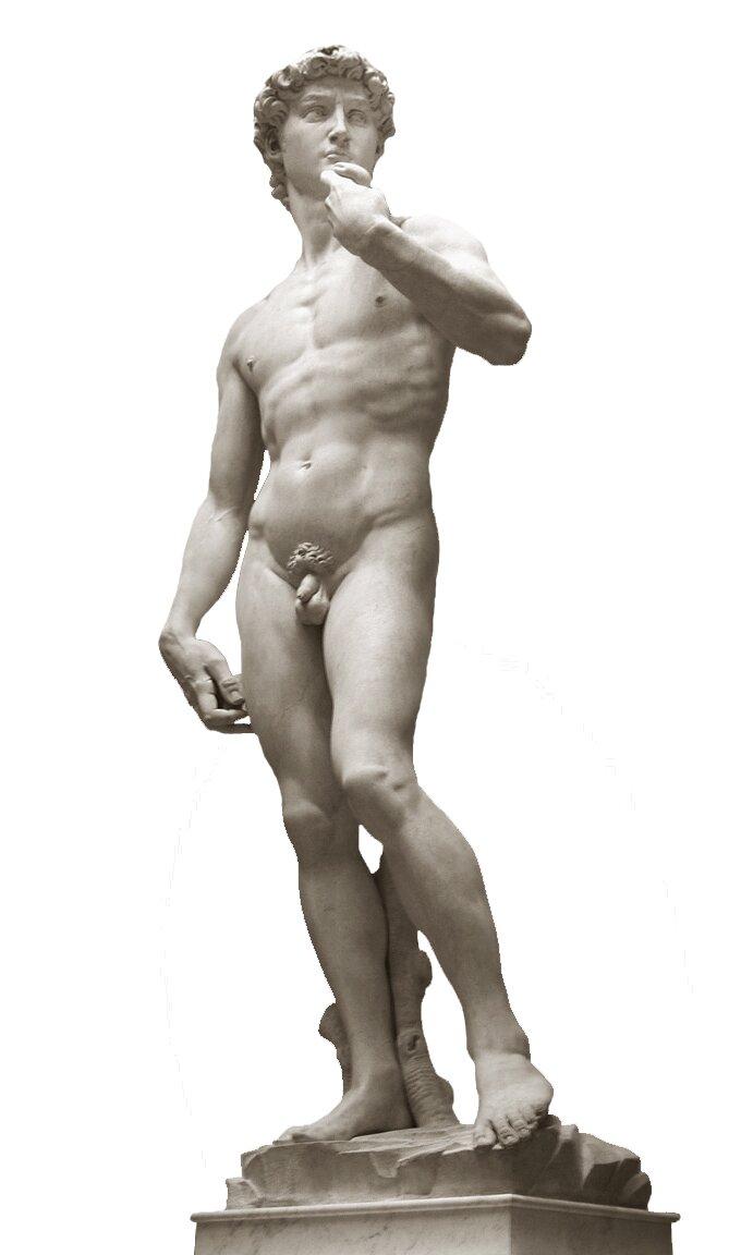 Dawid Źródło: Michał Anioł, Dawid, 1501–1504, marmur, wys. 434 cm, Galleria dell'Academia, Florencja, licencja: CC BY-SA 3.0.