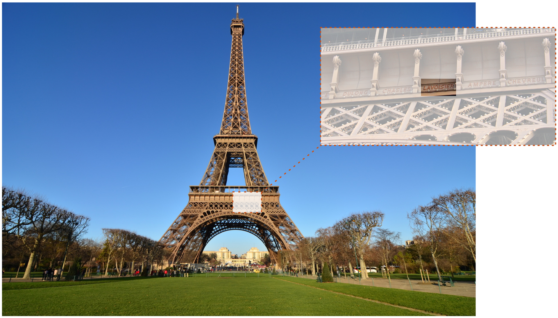 Ilustracja przedstawia fotografię Wieży Eiffla uwiecznionej od strony północno zachodniej. Na zdjęciu obszar pod pierwszym balkonem wyróżniony jest beżowym prostokątem. Wprawym górnym rogu ilustracji znajduje się zbliżenie tego fragmentu Wieży wobrębie którego również zaznaczono, tym razem ciemniejszym prostokątem, nazwisko Lavoisier wyryte pomiędzy innymi nazwiskami naukowców, inżynierów iprzemysłowców.
