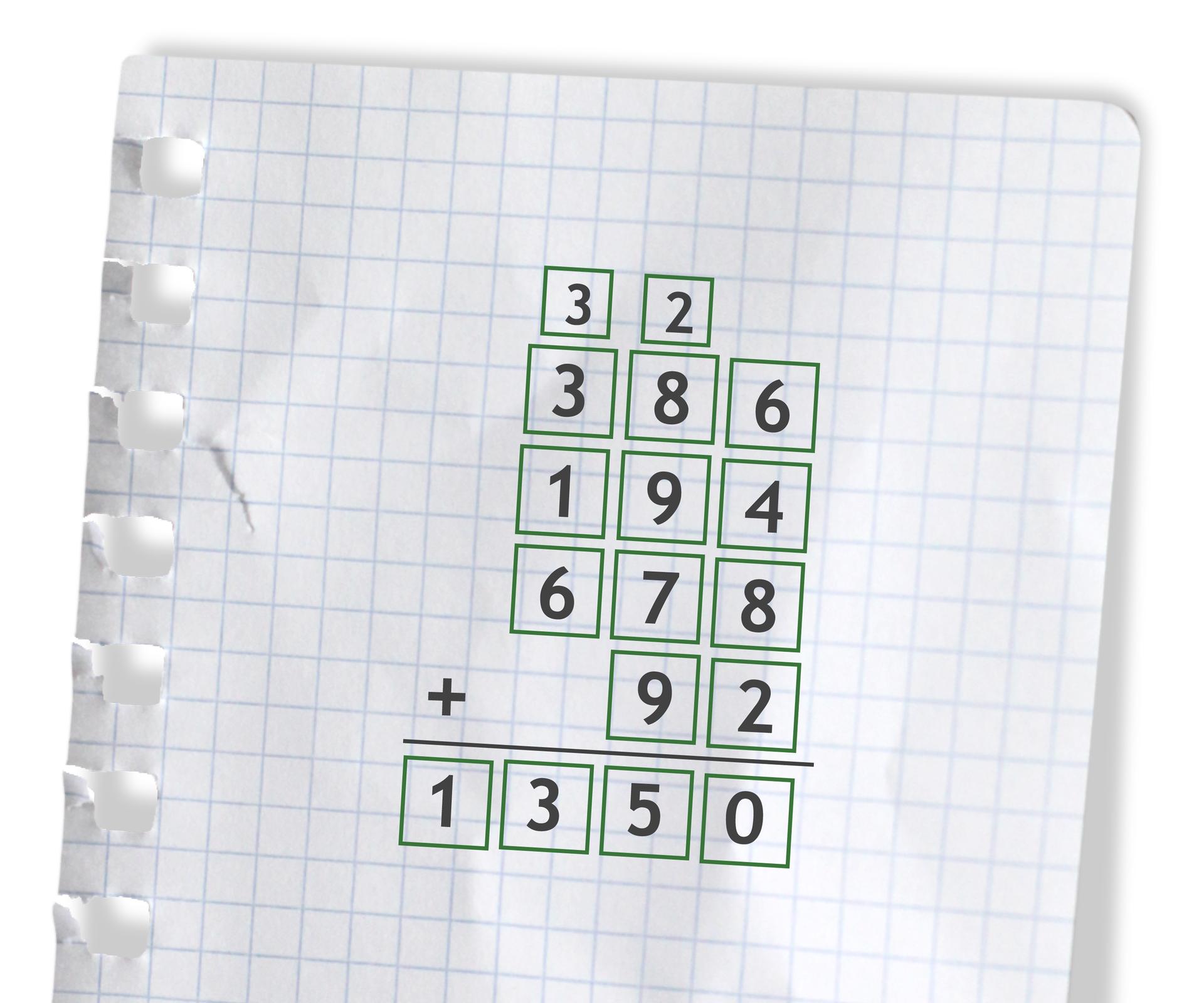 Przykład: 386 +194 +678 +92 =1350. Rozwiązanie zadania podpunkt f.