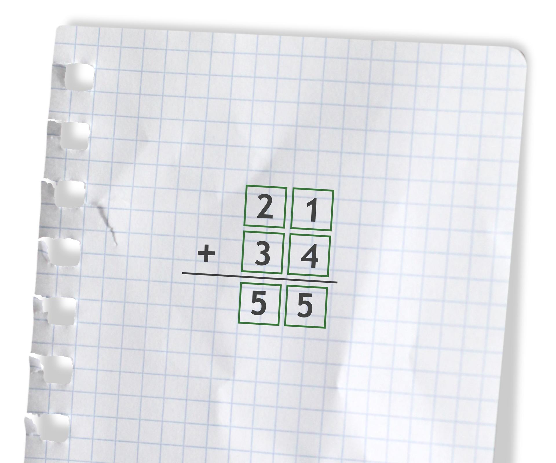 Przykład: 21 +34 =55. Rozwiązanie zadania podpunkt a.