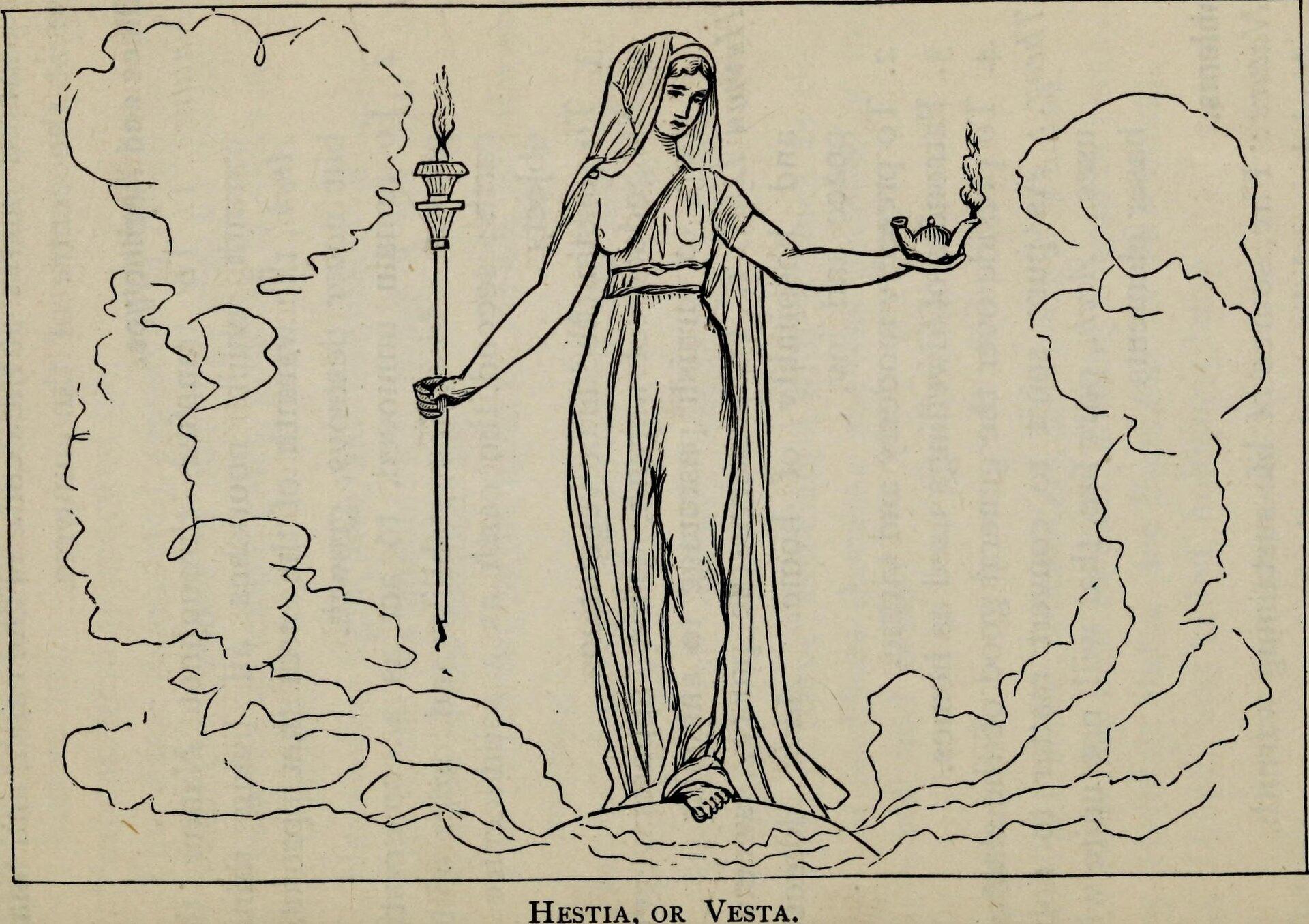 Ilustracja przedstawia ilustrację zksiążki Sarah Amelia Scull pt. Hestia lub Westa. Szczupła kobieta, która trzyma wprawej ręce pochodnię, natomiast wlewej dzban, zktórego leci para. Kobieta ubrana jest wdługą szatę, ma nagą pierś.