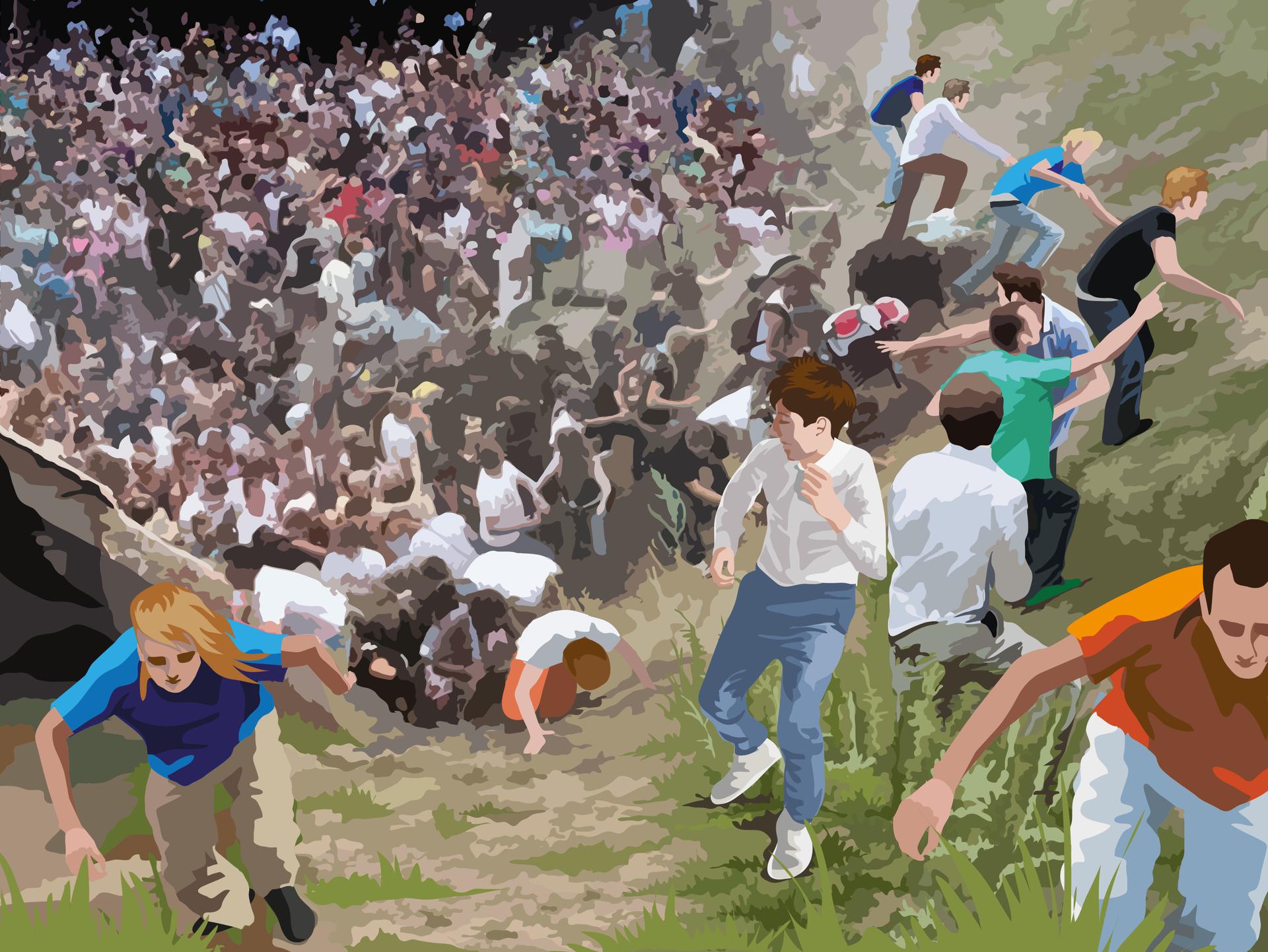 Malowidło przedstawiające spanikowany tłum iludzi usiłujących wydostać się zobszaru zagrożenia przedstawionego jako tunel, dół lub parów pełen stłoczonych postaci. Nieliczni ludzie, którym udaje się wspiąć na skarpę uciekają dalej lub obracają się, patrząc na tych, którzy są za nimi. Ludzie wdole tratują się nawzajem. Malowidło zostało wykonane na bazie rzeczywistego zdjęcia przedstawiającego panikę na imprezie Love Parade wDuisburgu w2010 roku.