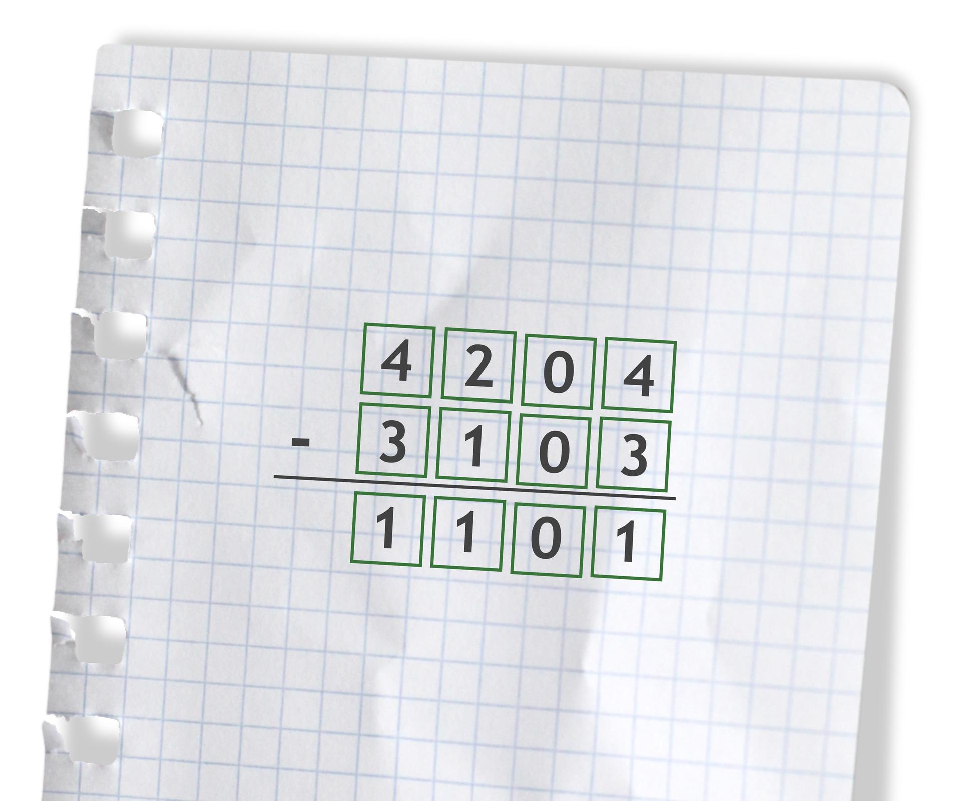 Przykład: 4204 - 3103 =1101. Rozwiązanie zadania podpunkt f.