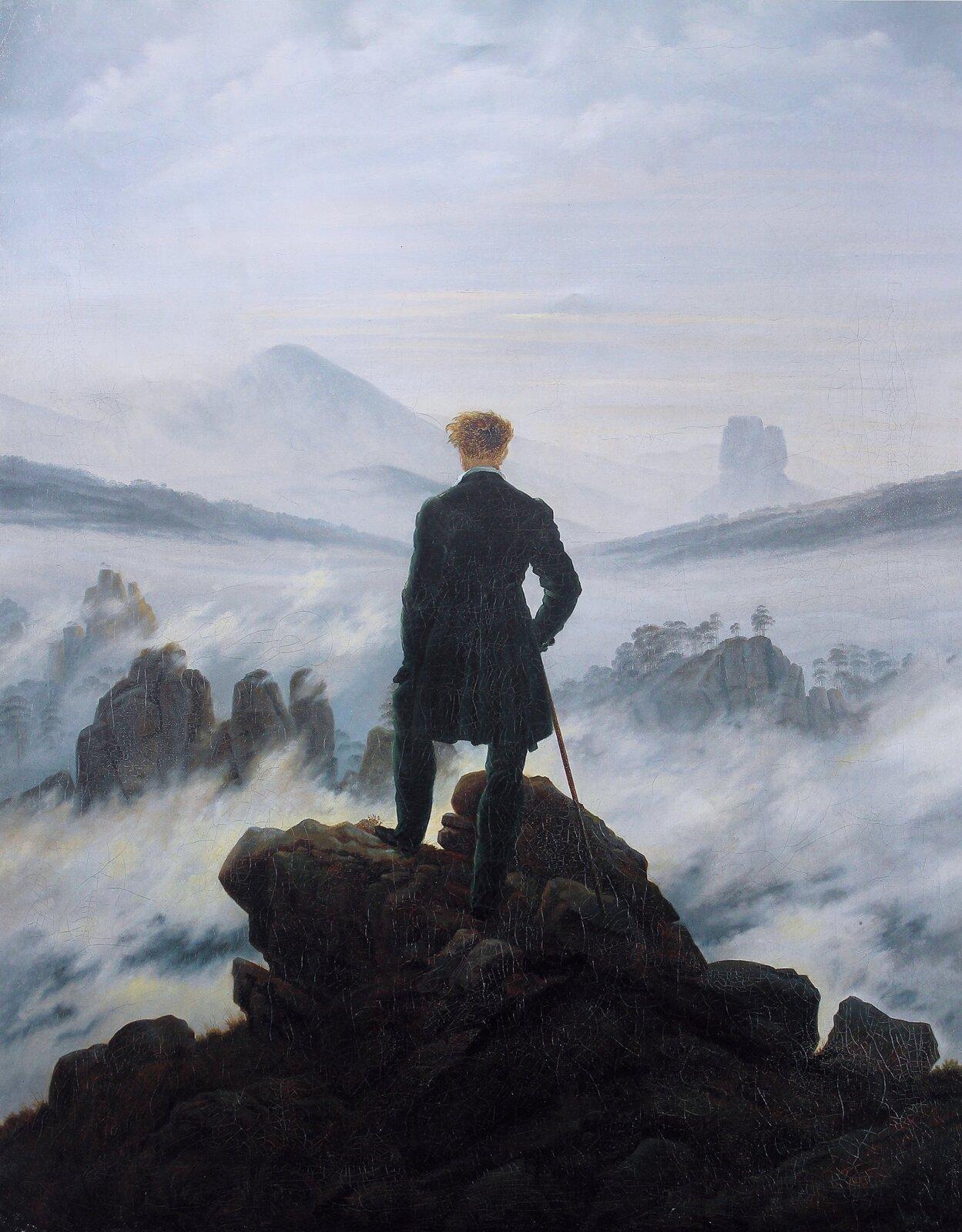 Wędrowiec nad morzem mgły Źródło: Caspar David Friedrich, Wędrowiec nad morzem mgły, 1818, olej na płótnie, Kunsthalle wHamburgu, domena publiczna.