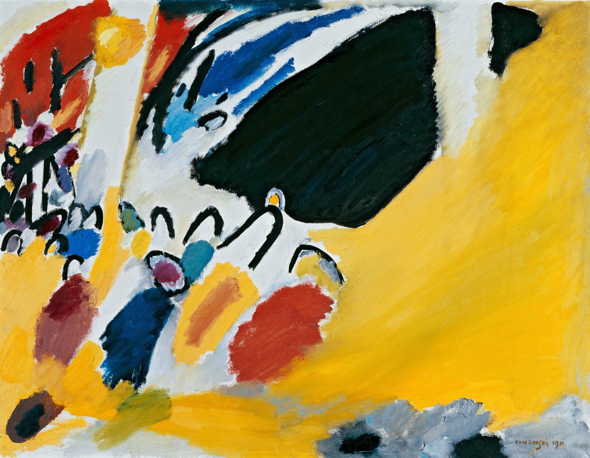 Wrażenie III (Koncert) Wasilij Kandinski,Wrażenie III (Koncert) Źródło: Wasilij Kandinski, Wrażenie III (Koncert), 1911, Städtische Galerie im Lenbachhaus, Monachium, domena publiczna.