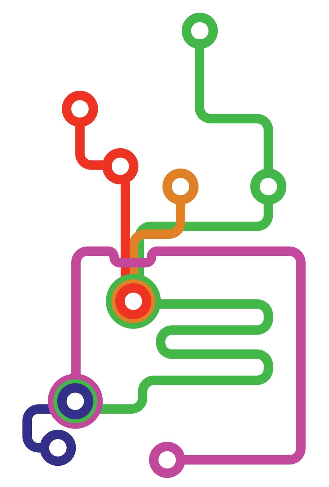 Rysunek przedstawia schematycznie układ pokarmowy człowieka: wielokolorowe rurki ikółeczka. Odcinki układu pokarmowego oznaczono różnymi barwami. Kółka symbolizują narządy trawienne.