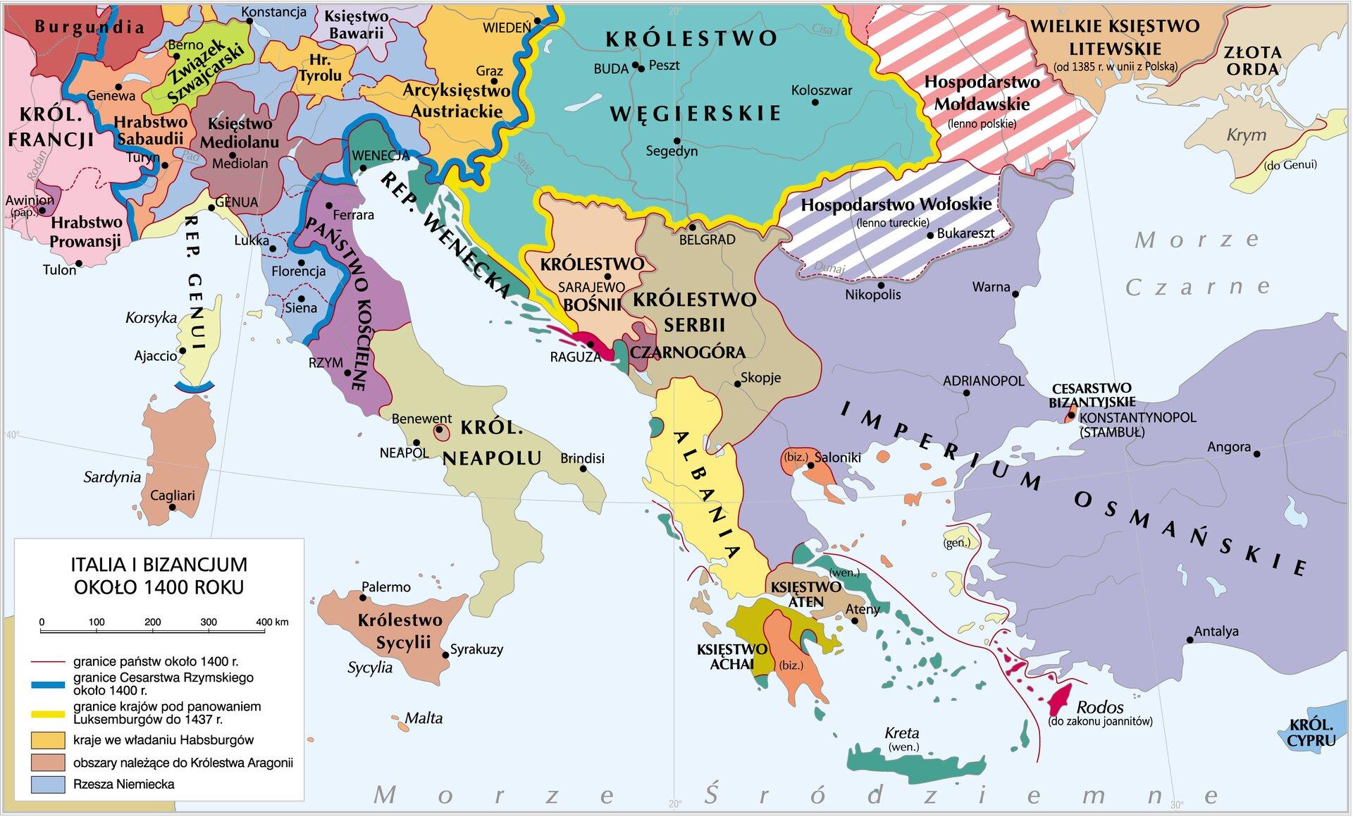 Italia iBizancjum około 1400 roku Italia iBizancjum około 1400 roku Źródło: Krystian Chariza izespół, licencja: CC BY 4.0.