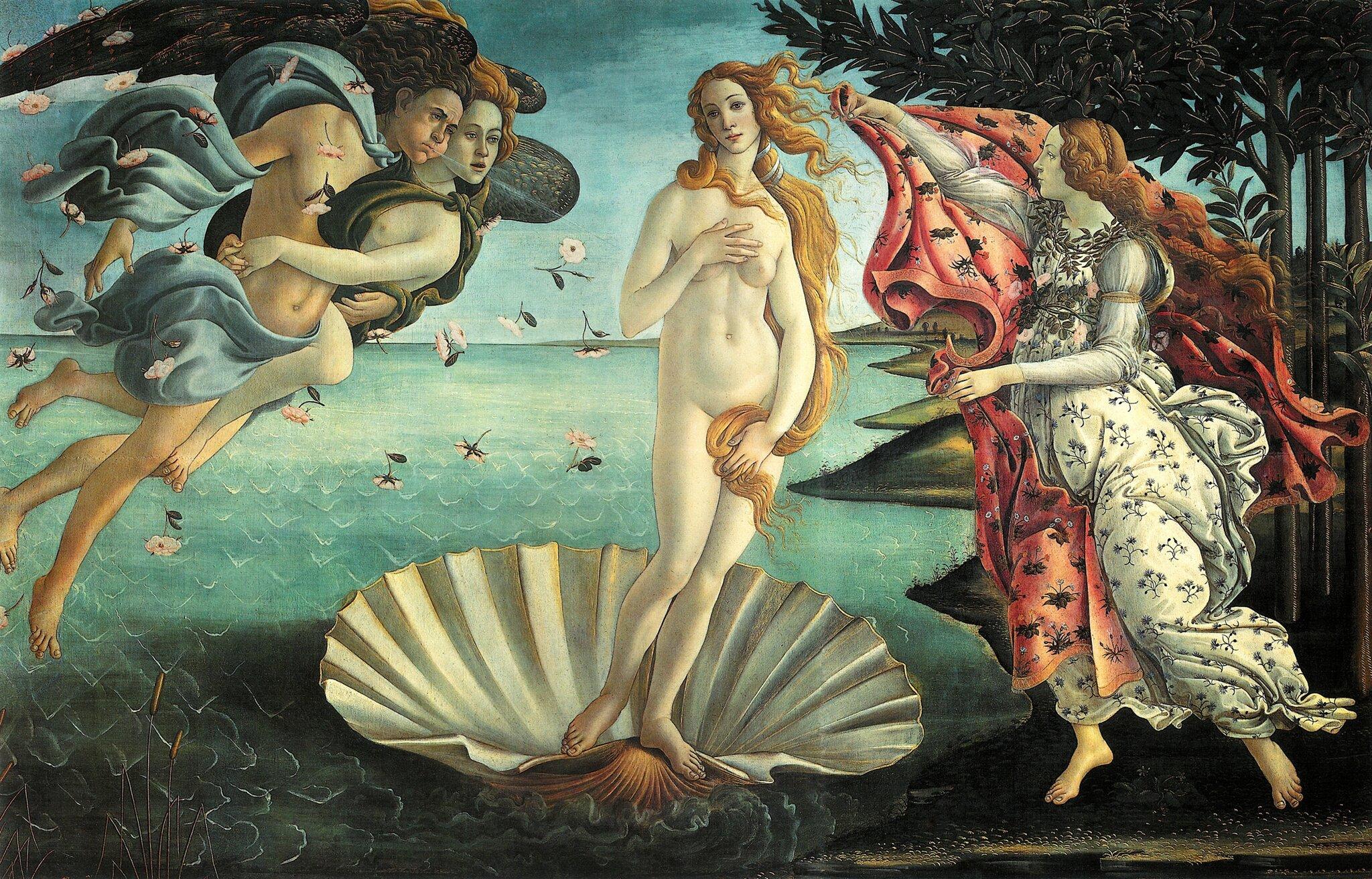 Narodziny Wenus Źródło: Sandro Botticelii, Narodziny Wenus, ok. 1482-1485, tempera na płótnie, Galleria degli Uffizi, Florencja, domena publiczna.