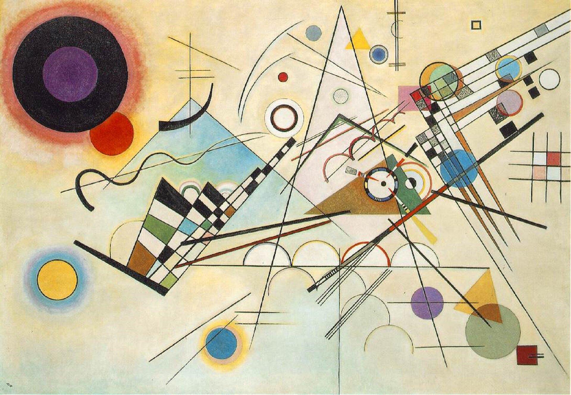 """Ilustracja przedstawia obraz olejny """"Kompozycja 8"""" autorstwa Wassila Kandinskyego. Abstrakcyjna, dynamiczna kompozycja składa się zluźno ułożonych, często nachodzących na siebie, różnej wielkości ikoloru figur geometrycznych, linii, trójkątów, prostokątów ikół. Podkład dla delikatnych, lewitujących wprzestrzeni kształtów stanowi ciepłe, jasne, żółto-błękitne tło. Mocnym akcentem kompozycji jest umieszczone wgórnym lewym rogu duże czarne koło zfioletowym środkiem irozmytą, czerwoną obwódką, zktórego zza dolnej prawej krawędzi wyłania się mniejsze czerwone kółko."""