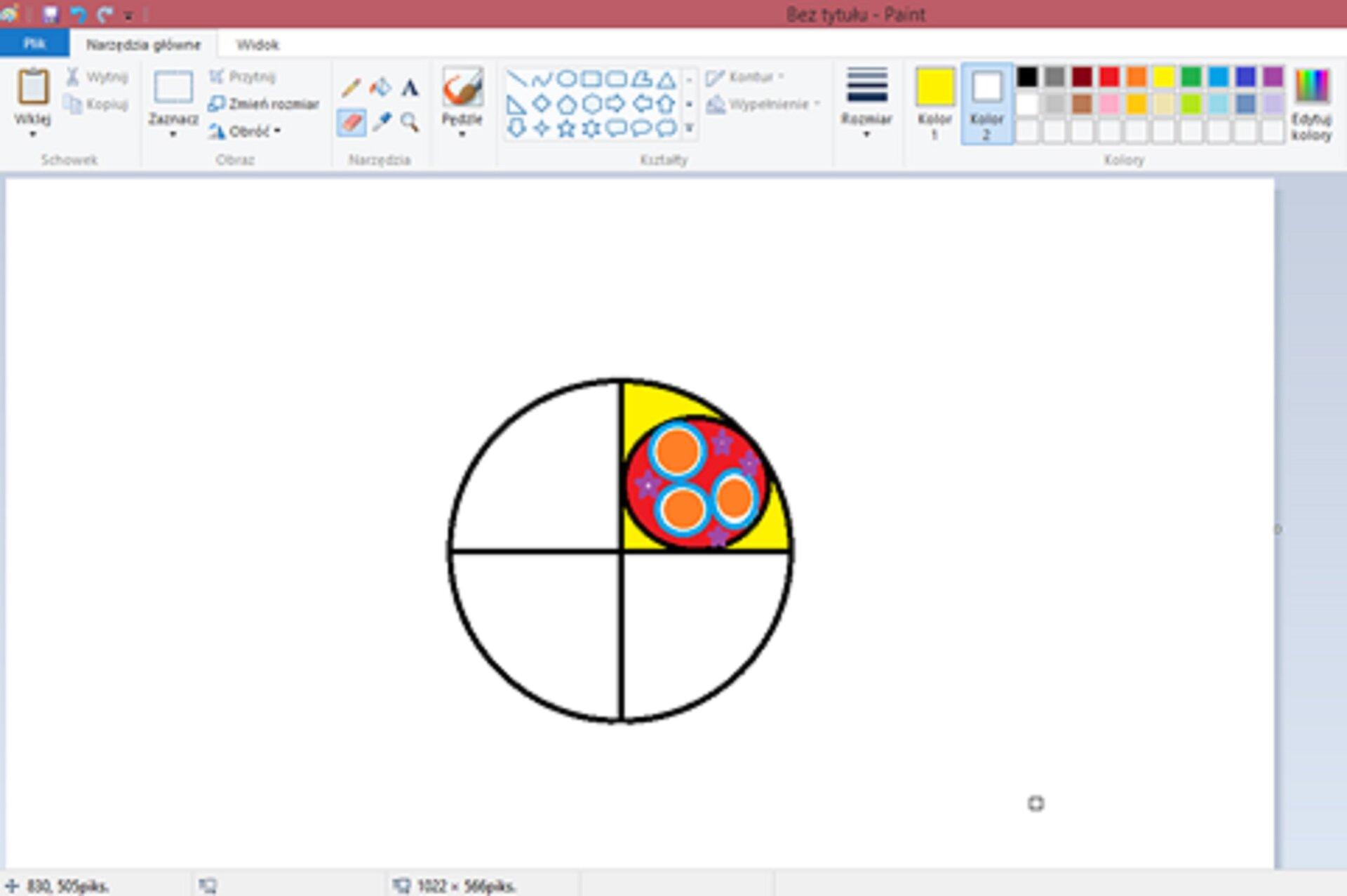 Zrzut okna programu Paint zilustracją przedstawiającą część rozety
