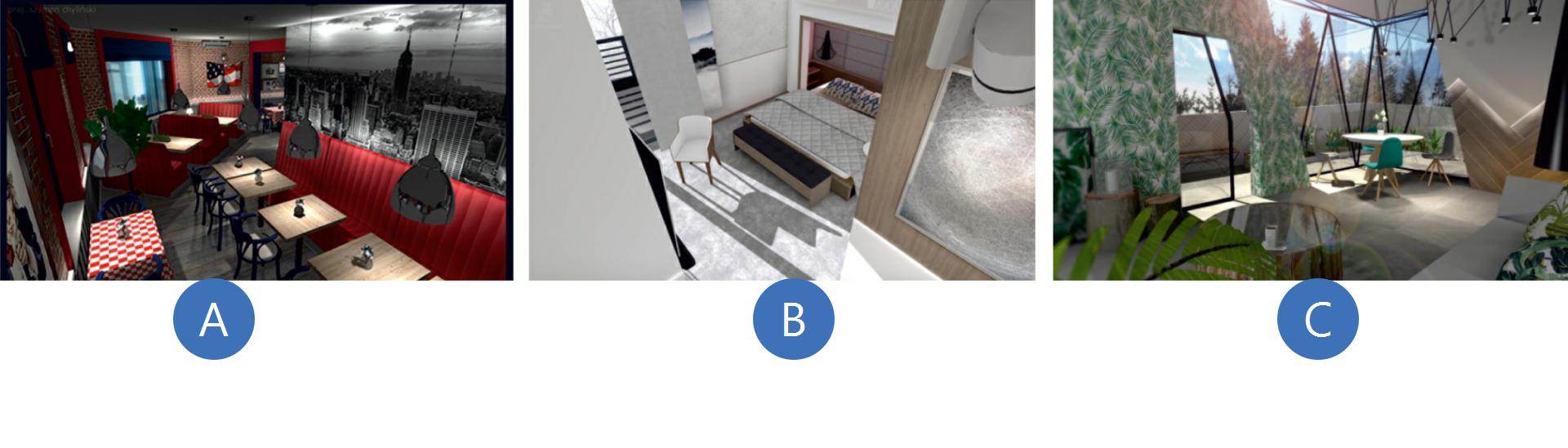 Pierwsza ilustracja przedstawia projekt pomieszczenia kawiarni. widać na nim poustawiane stoliki ikrzesła oraz czerwoną kanapę ciągnącą się wzdłuż ściany. Nad nią wisi szara tapeta zpanoramą miasta. Część ścian idekoracje również mają kolor intensywnej czerwieni. Zgóry zwisają szare lampy. Widać kontrast między elementami wdwóch dominujących kolorach. Drugie zdjęcie to pomieszczenie wkolorach bieli. Wszystkie elementy takie jak krzesło czy łóżko są białe zdrewnianym stelażem. widać, że pomieszczenie jest dobrze oświetlone. Trzecie pomieszczenie to salon zjasną sofą. Wrogu stoi stolik zkilkoma krzesłami. Jedna ze ścian wpołowie jest przeszklona, ana drugiej pojawiają się zielonkawe wzory liści. Pomieszczenie jest oświetlone wiszącymi lampami wokolicy stolika. Kolory ścian idekoracji są stonowane iwspółgrają ze sobą.