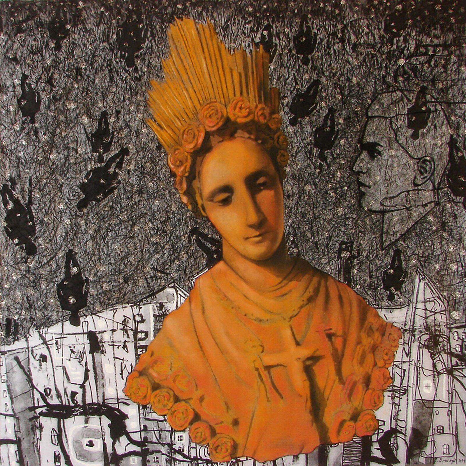 """Ilustracja przedstawia obraz """"Ikona"""" autorstwa Ewy Bińczyk. Wcentrum kompozycji ukazane zostało pomarańczowe popiersie kobiety wstrzelistej, otoczonej wiankiem róż koronie. Na piersiach postaci znajduje się duży krzyż zChrystusem. Draperia szaty okrywająca jej ramiona również wykończona jest różami. Wzrok kobiety opuszczony jest wdół. Popiersie, jakby lewituje na szaro-czarnym, graficznym tle rysowanego uproszczoną kreską miasta. Dolną, węższą partię drugiego planu stanowią jasne budynki bloków, nad nimi rozpościera się szara przestrzeń luźno pokrytego pętlami linii nieba, na którym artystka umieściła czarne sylwetki, odwróconych do góry nogami postaci. Zprawej strony kompozycji znajduje się ledwo widoczny, rysowany cienką, czarną linią profil mężczyzny. Praca utrzymana jest wtonacji szarości zsilną dominantą pomarańczowego koloru unoszącego się popiersia kobiety."""