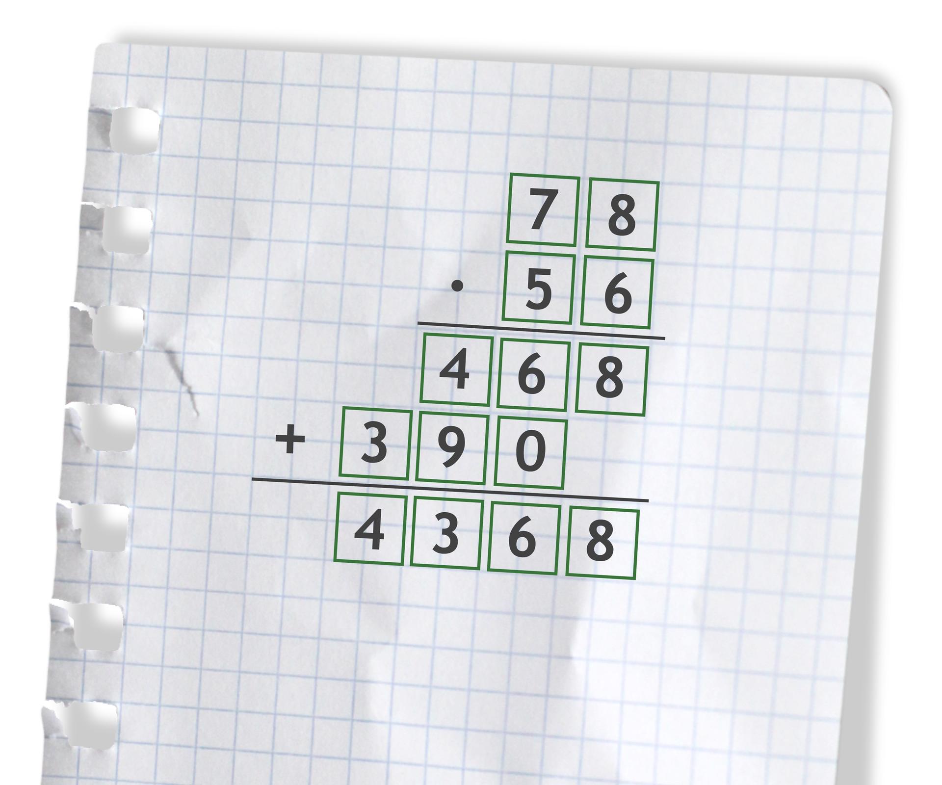 Przykład: 78 razy 56 =4368. Rozwiązanie zadania podpunkt b.