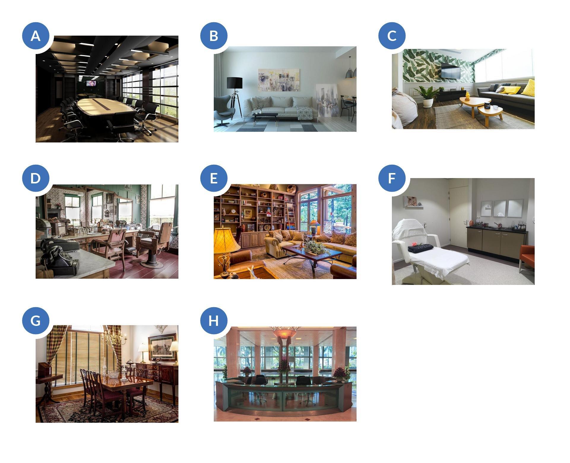 Pierwsze zdjęcie przedstawia salę konferencyjną. Na środku znajduje się duży stół, wokół którego ustawione są krzesła. Na jednej ze ścian wisi telewizor. Drugie zdjęcie przedstawia pomieszczenie, wktórym na głównej ścianie stoi sofa. Nad nią wisi obraz. Obok stoi również czarna lampa iszary fotel. Podłoga jest zrobiona zkafli oróżnych odcieniach: szare, białe, czarne. Trzecie zdjęcie przedstawia pokój. Widać dwie ściany. Na jednej wzdłuż są okna, apod nimi stoi długa szara sofa. Na drugiej ścianie jest położona tapeta wzielone wzory, wisi telewizor, ana podłodze stoi szafka. Na środku jest dywan istolik. Czwarte zdjęcie przedstawia pokój ze starymi fotelami fryzjerskimi ustawionymi przed lustrami. Wystrój jest niczym zlat 80-tych. Piąte zdjęcie salon. Jedna ze ścian jest zabudowana regałem zpułkami iszafkami udołu. Na środku stoi stół, który otoczony jest sofą oraz fotelami. Na podłodze mamy dywan. Szóste zdjęcie przedstawia pokój na środku którego stoi fotel do masarzu lub prowadzenia zabiegów kosmetycznych. Pod ścianą szafki ze zlewem idrzwi. Siódme zdjęcie to gabinet, wktórym znajdują się meble wstylu secesyjnym. Pod ścianą stoi komoda na długich nogach. Nad meblem wisi obraz. Na środku znajduje się stół otoczony krzesłami, ana podłodze leży dywan. Na drugiej ścianie są okna zasłonięte roletami, aobok zwisają dwie zasłony związane na środku. Ósme zdjęcie przedstawia hol wbudynku. Jest umiejscowiony na środku ima kształt koła. Wśrodku stoi duży punkt oświetlający.