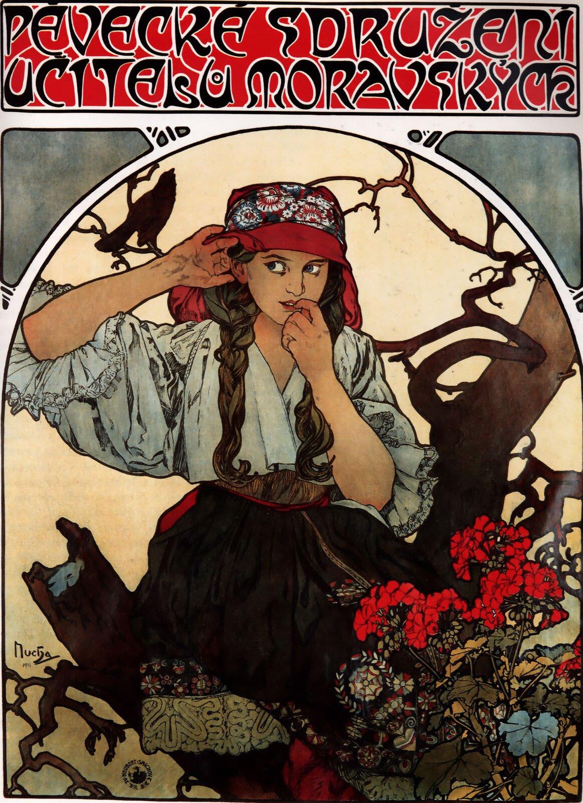 Plakat Morawskiego Chóru Nauczycieli Ilustracja 2 Źródło: Alfons Mucha, Plakat Morawskiego Chóru Nauczycieli, 1911, litografia barwna, zbiory prywatne, domena publiczna.