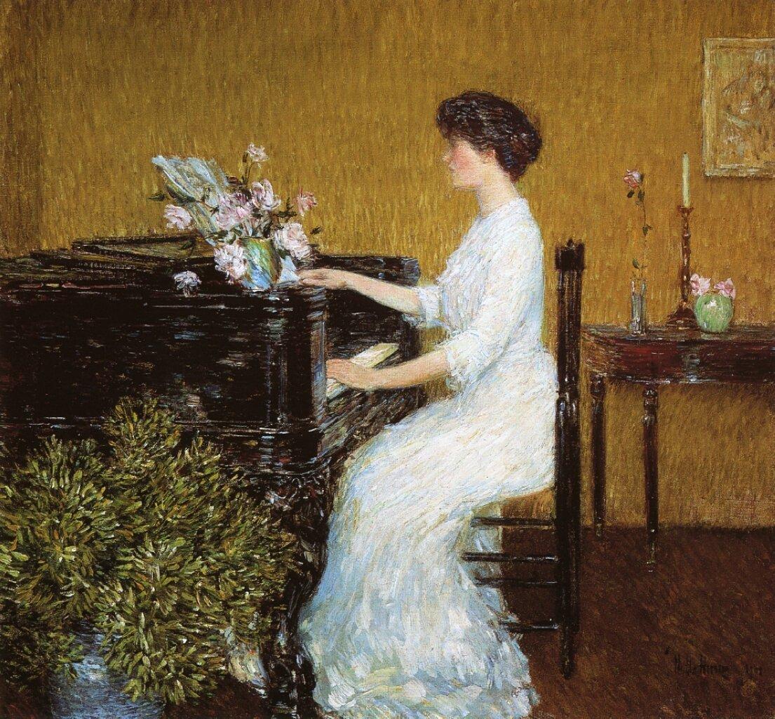 Childe Hassam, Przy pianinie, 1908 Źródło: wikiart, Childe Hassam, Przy pianinie, 1908, licencja: CC 0.