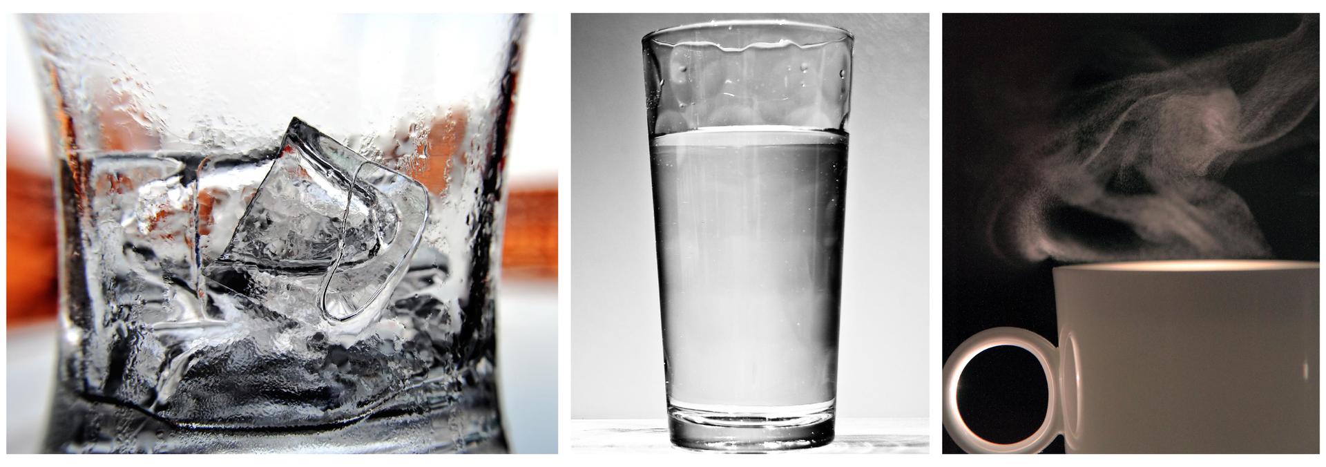 Zdjęcie składa się ztrzech innych zdjęć. Na pierwszym zdjęciu znajduje się przezroczysta szklanka. Szklanka zajmuje cały obszar zdjęcia. Górna krawędź szklani nie została ukazana. Wśrodku szklanki znajduje się kilka kostek lodu. Drugie zdjęcie przedstawia szklankę zwodą. Szklanka wypełnia całą powierzchnię zdjęcia ijest widoczna wcałości. Szklanka jest prawie pełna. Tło jasnoszare. Na trzecim zdjęciu znajduje się fragment porcelanowej filiżanki. Tło ciemne. Nad filiżanką unoszą się kropelki mgły, które są wynikiem skroplenie się pary wodnej. Nie widać, jaki płyn znajduje się wśrodku.
