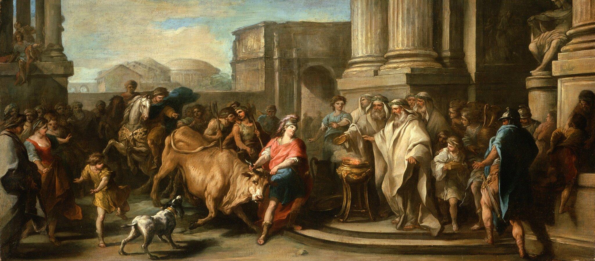 Tezeusz ujarzmiający maratońskiego byka Źródło: Charles-André Vanloo, Tezeusz ujarzmiający maratońskiego byka, ok. 1730, olej na płótnie, Los Angeles County Museum of Art, domena publiczna.
