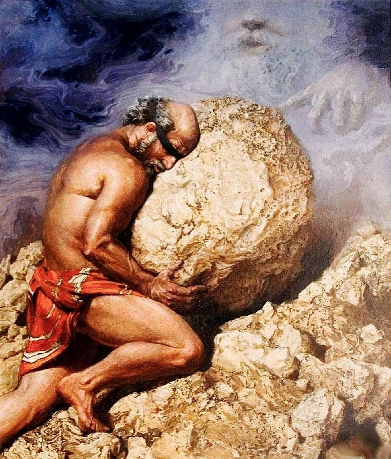 """Ilustracja przedstawia dzieło Nikołaja Burdykina pt. """"Syzyf"""". Król Koryntu ukazany jest podczas odbywania kary: pcha po kamiennej górze duży kamień. Biodra przewiązane ma czerwoną chustą, na oczach ma czarną przepaskę. Kolanem opiera się oskałę. Nad nim widnieje mglista postać: ma długie włosy izarost; wskazującym palcem dotyka głazu, który Syzyf usiłuje wnieść na szczyt."""