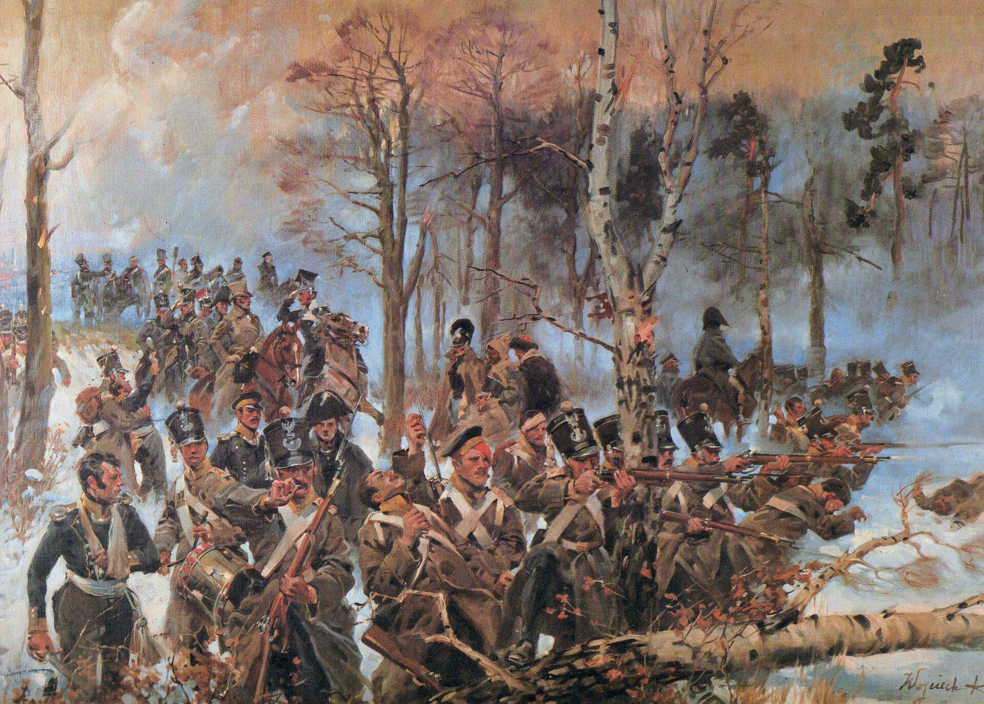 Olszynka Grochowska Bitwa pod Grochowem (25II 1831 r.) Źródło: Wojciech Kossak, Olszynka Grochowska, 1928, domena publiczna.
