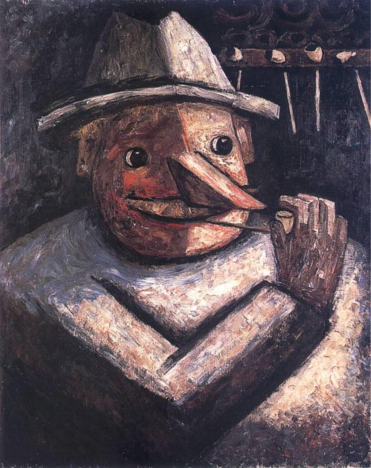 """Ilustracja przedstawia obraz pt. """"Portret męski zfajkami"""" autorstwa Tadeusza Makowskiego. Dzieło ukazuje ciężką, klocowatą postać mężczyzny, zdługim nosem inakryciem głowy. Mężczyzna pali fajkę. Po prawej stronie jego głowy widać cztery wiszące na ścianie fajki."""