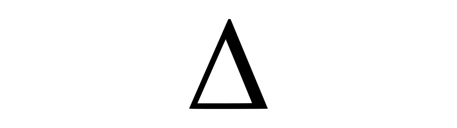 Ilustracja przedstawia symbol greckiej litery ∆ delta. Tło białe. Na środku duży trójkąt. Kontury czarne, wnętrze białe. Trójkąt równoramienny. Kontur prawego ramienia grubszy niż pozostałych boków.