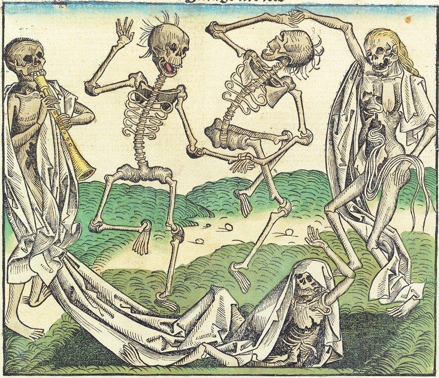 Ilustracja zKroniki norymberskiej Jak myślisz, dlaczego przedstawione postaci grają na instrumentach itańczą? Źródło: Ilustracja zKroniki norymberskiej, 1493, domena publiczna.