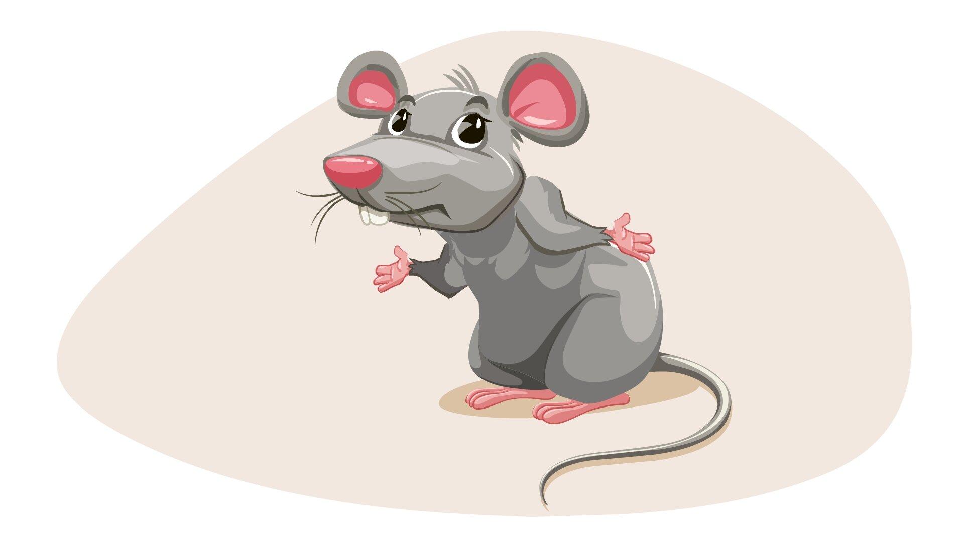 Ilustracja przedstawia mysz zrozłożonymi łapkami.