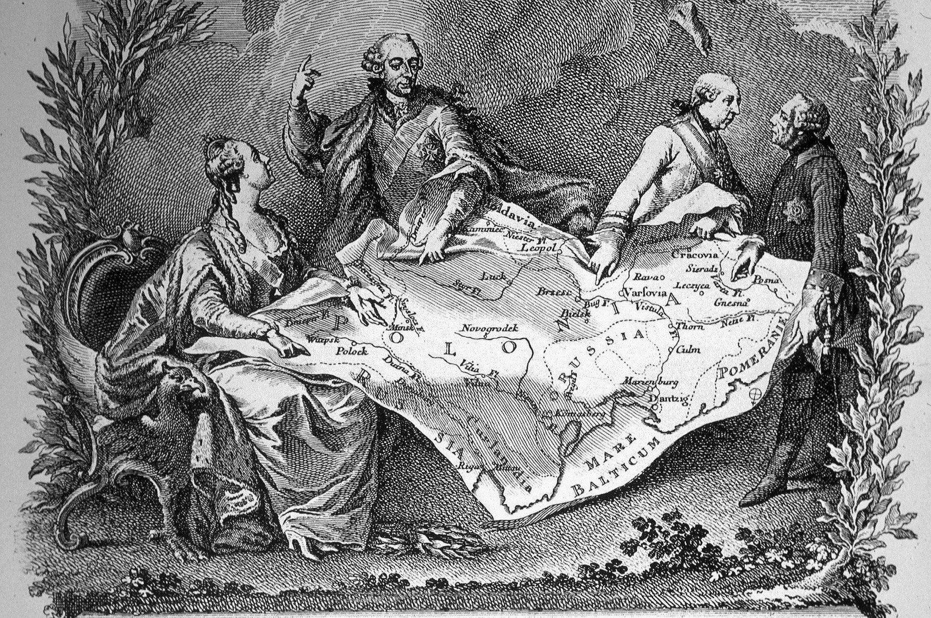 Pierwszy rozbiór Polski Rysunek 2. Źródło: Johannes Nilson, Pierwszy rozbiór Polski, 1773, domena publiczna.