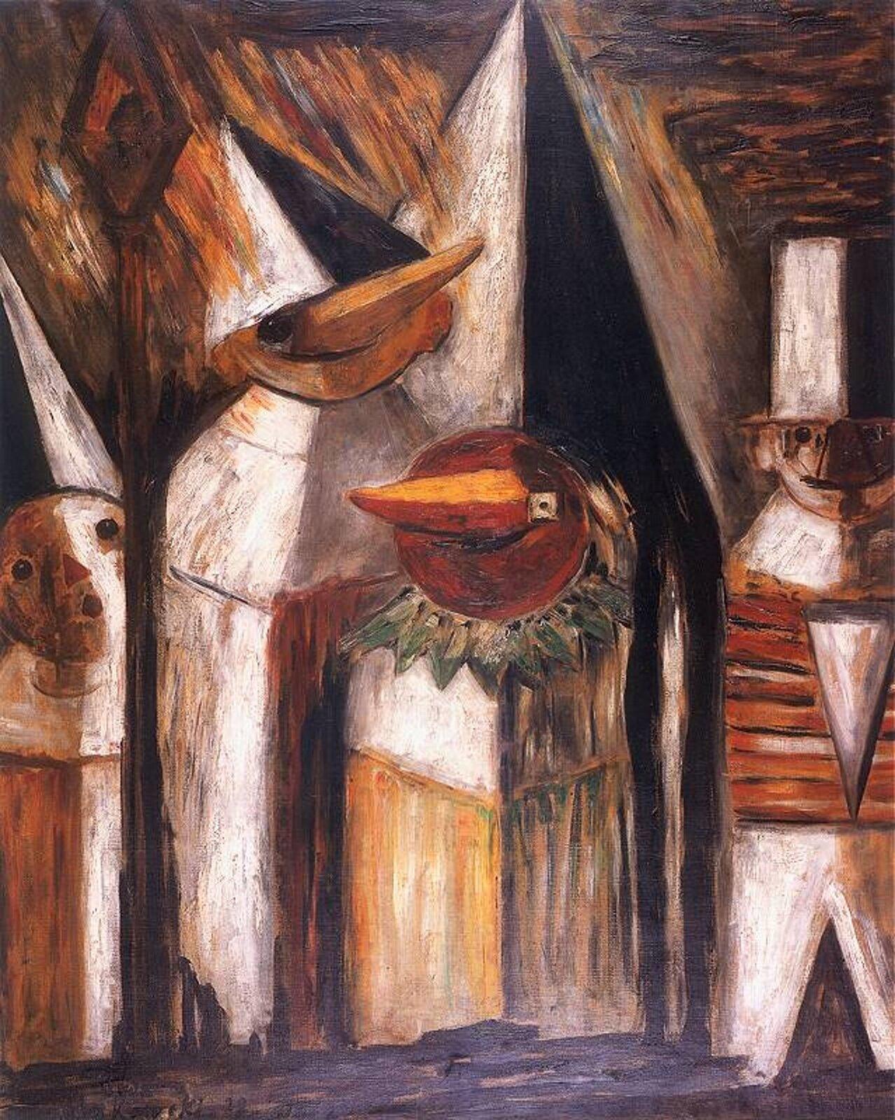 """Ilustracja przedstawia obraz pt. """"Maskarada"""" autorstwa Tadeusza Makowskiego. Dzieło ukazuje cztery postacie wnakryciach głowy ze szpiczastymi nosami. Tułów mają prostokątny, jakby złożony zdrewnianych desek."""