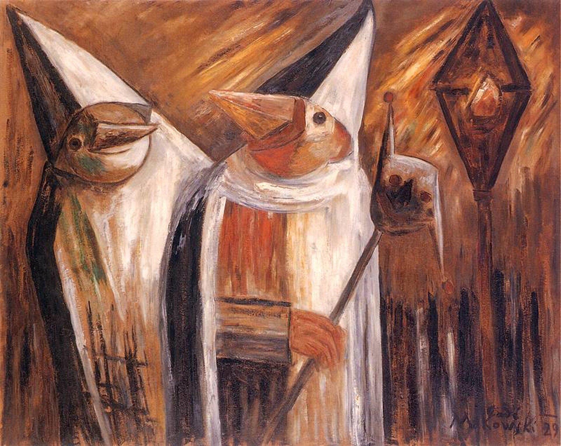 """Ilustracja przedstawia obraz pt. """"Maski"""" autorstwa Tadeusza Makowskiego. Dzieło ukazuje dwie przebrane postacie. Mają one wysokie, szpiczaste kapelusze. Jedna znich trzyma wręku maskę."""